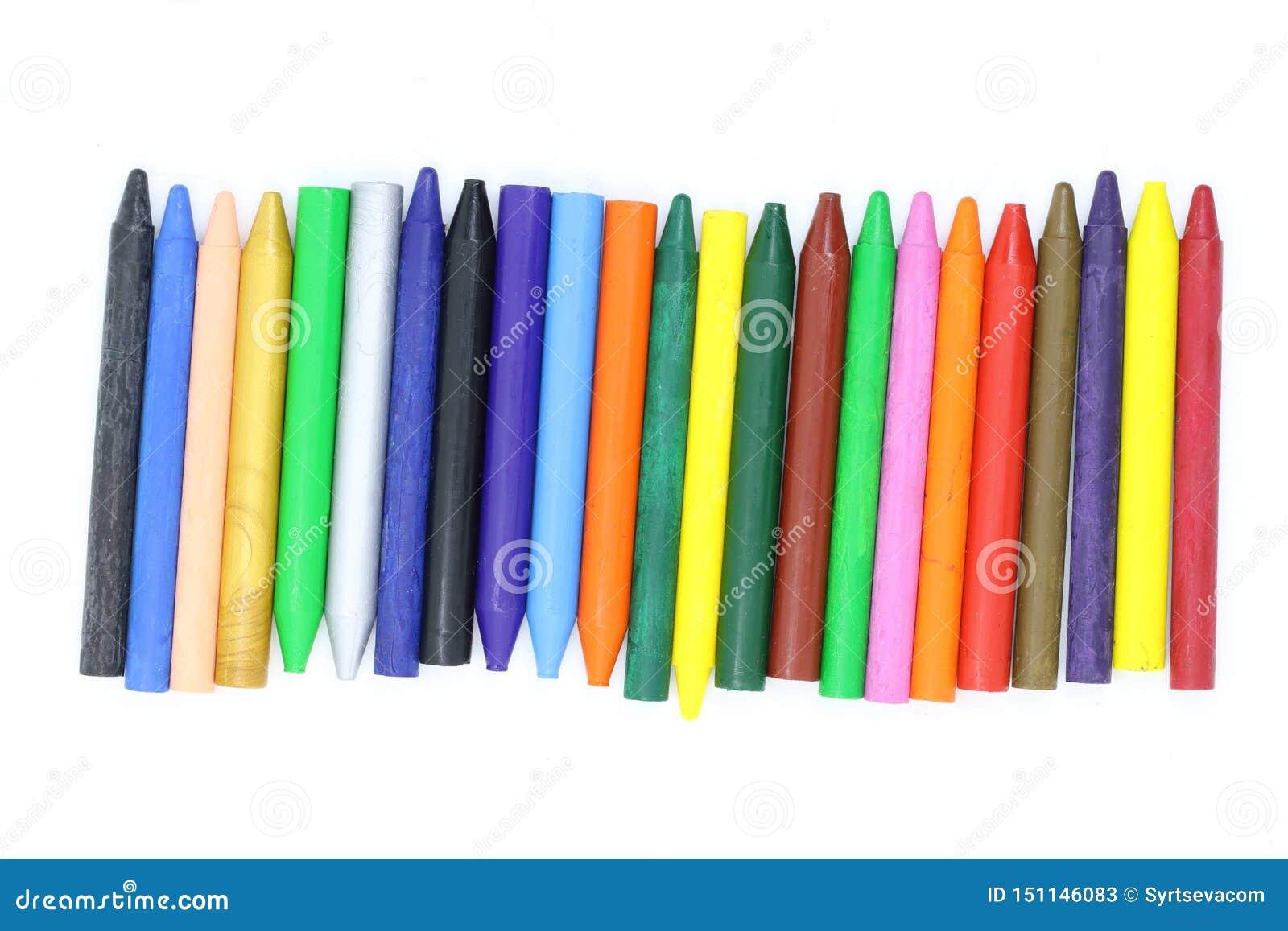 Viele farbigen Wachszeichenstifte schließen oben, einwachsen Zeichenstifte für das Zeichnen, Schulbedarf, Wachszeichenstifte für