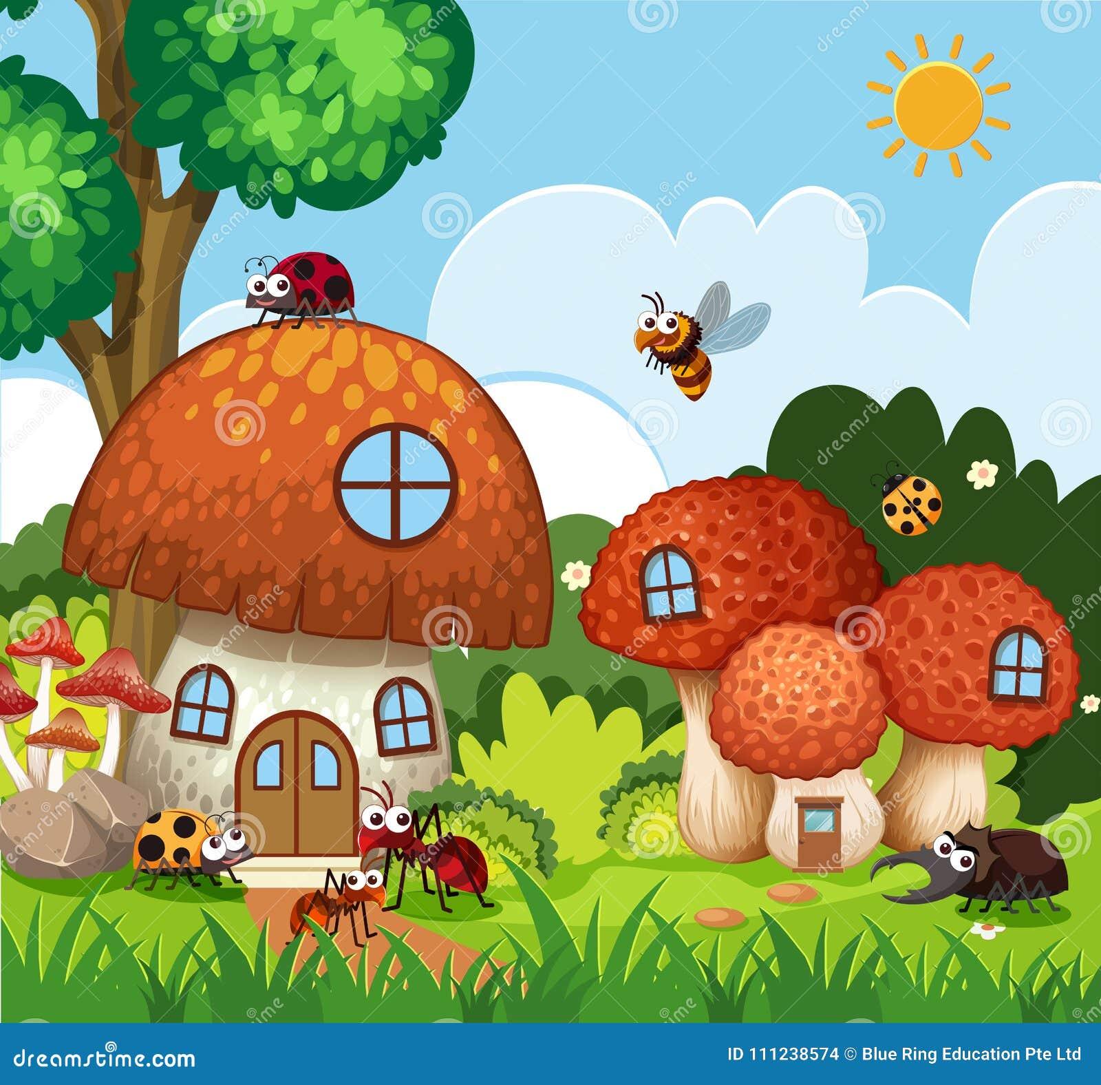 Viele Insekten, die um Pilzhaus im Garten fliegen