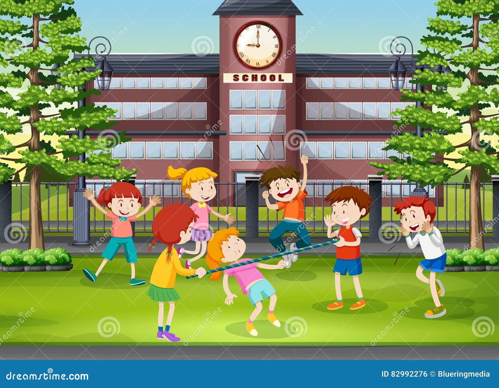 schulboden download viele kinder die im schulboden spielen stock abbildung illustration von zicklein szene