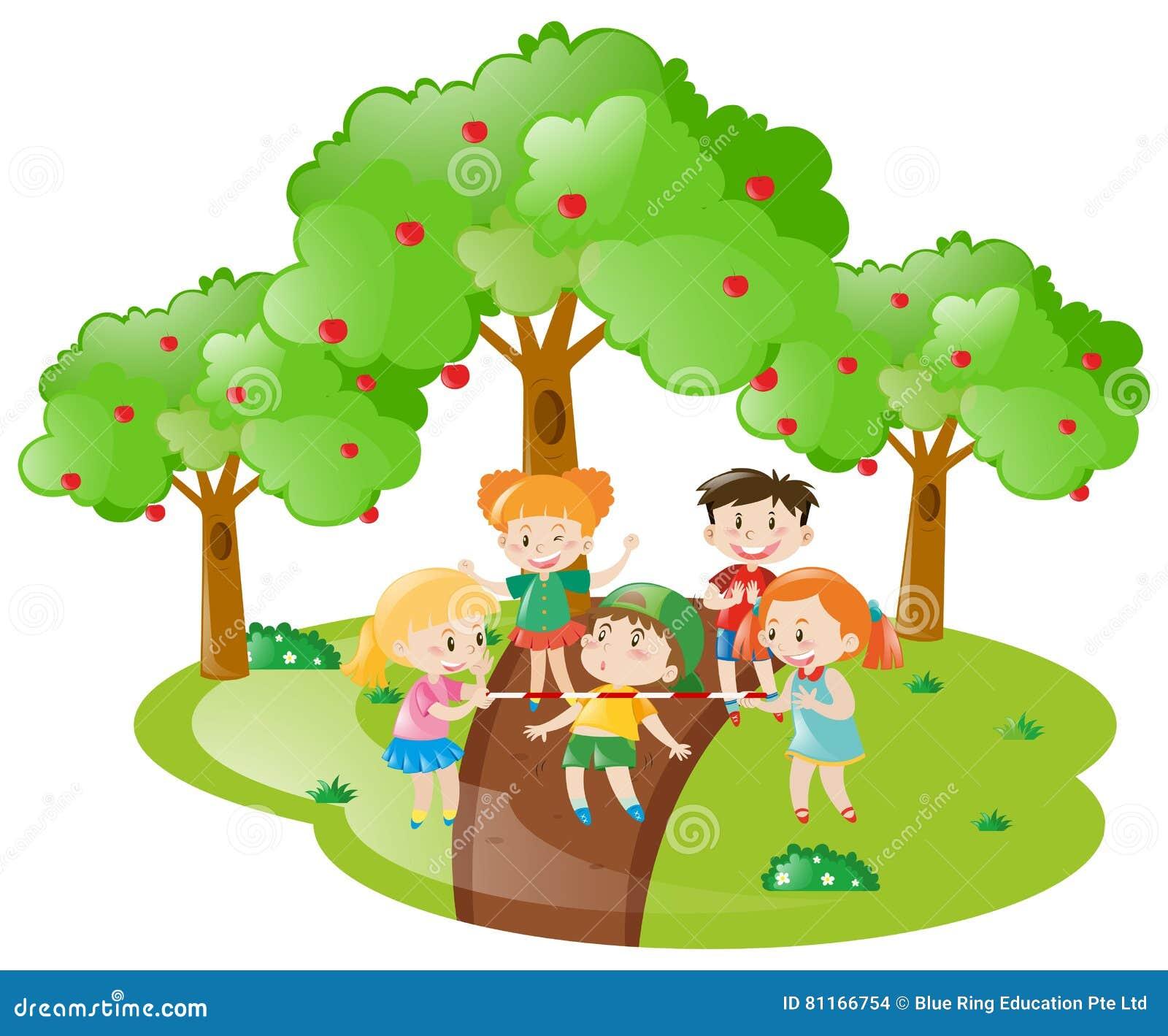 Viele Kinder Die Spiel Im Garten Spielen Vektor Abbildung