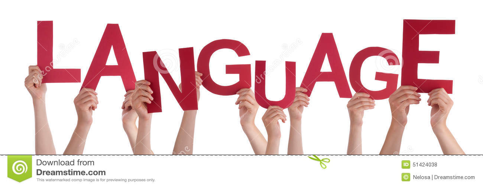 Viele Leute-Hände, die rote Wort-Sprache halten