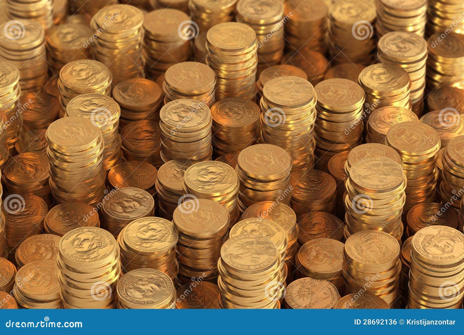 Viele Stapel Von Ein Us Dollar Münzen Stock Abbildung Illustration