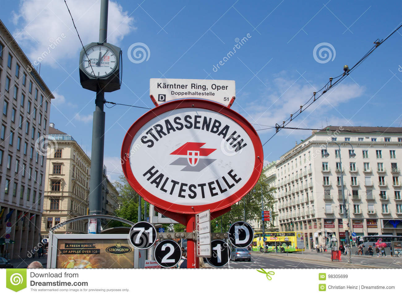 Vienna Austria Apr 30th 2017 Sign For Tram Stop At The Opera