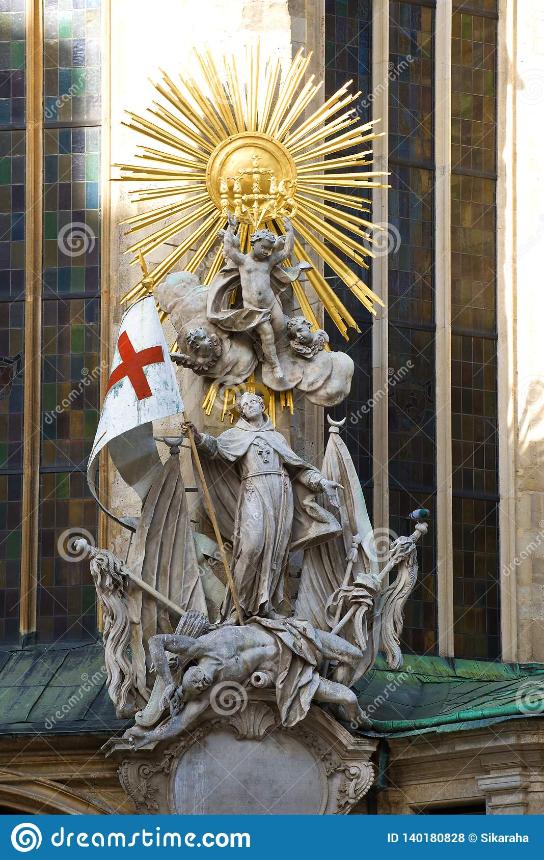 Sculpture of Saint Joahn Capistran conquering the Turks. Detail of the design of the Cathedral of St. Stephen. Vienna, Austria