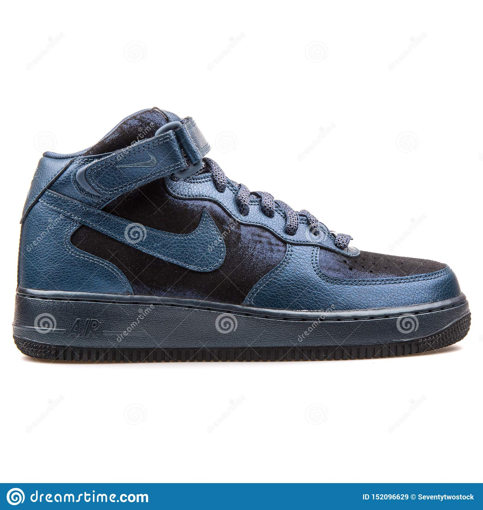 Nike Air Force 1 07 Mid Premium Metallic Navy Blue And