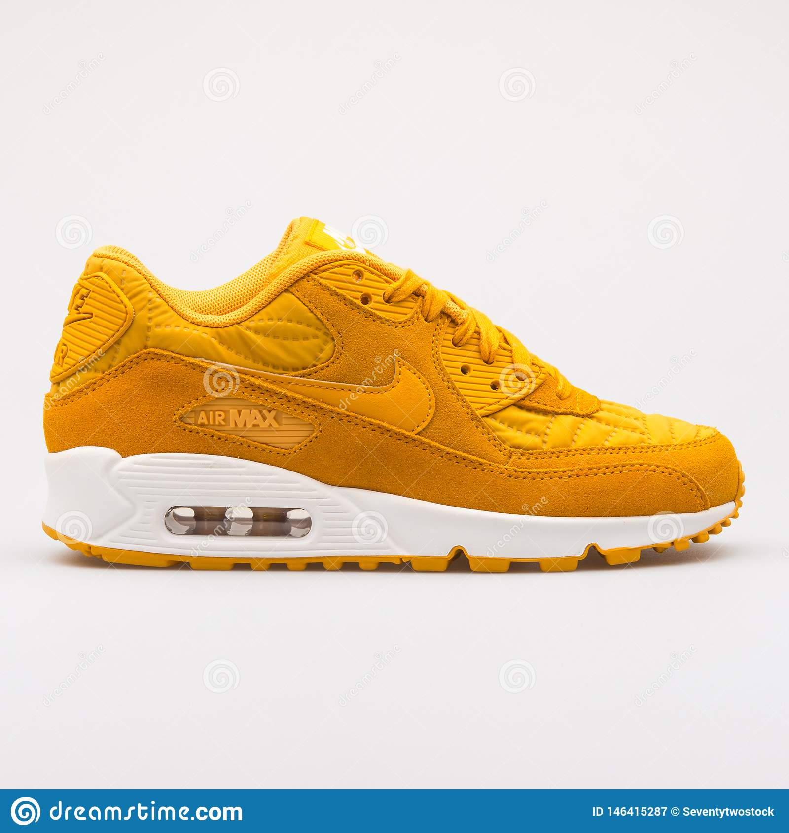 Nike Air Max 90 Premium Gold Sneaker Editorial Photography