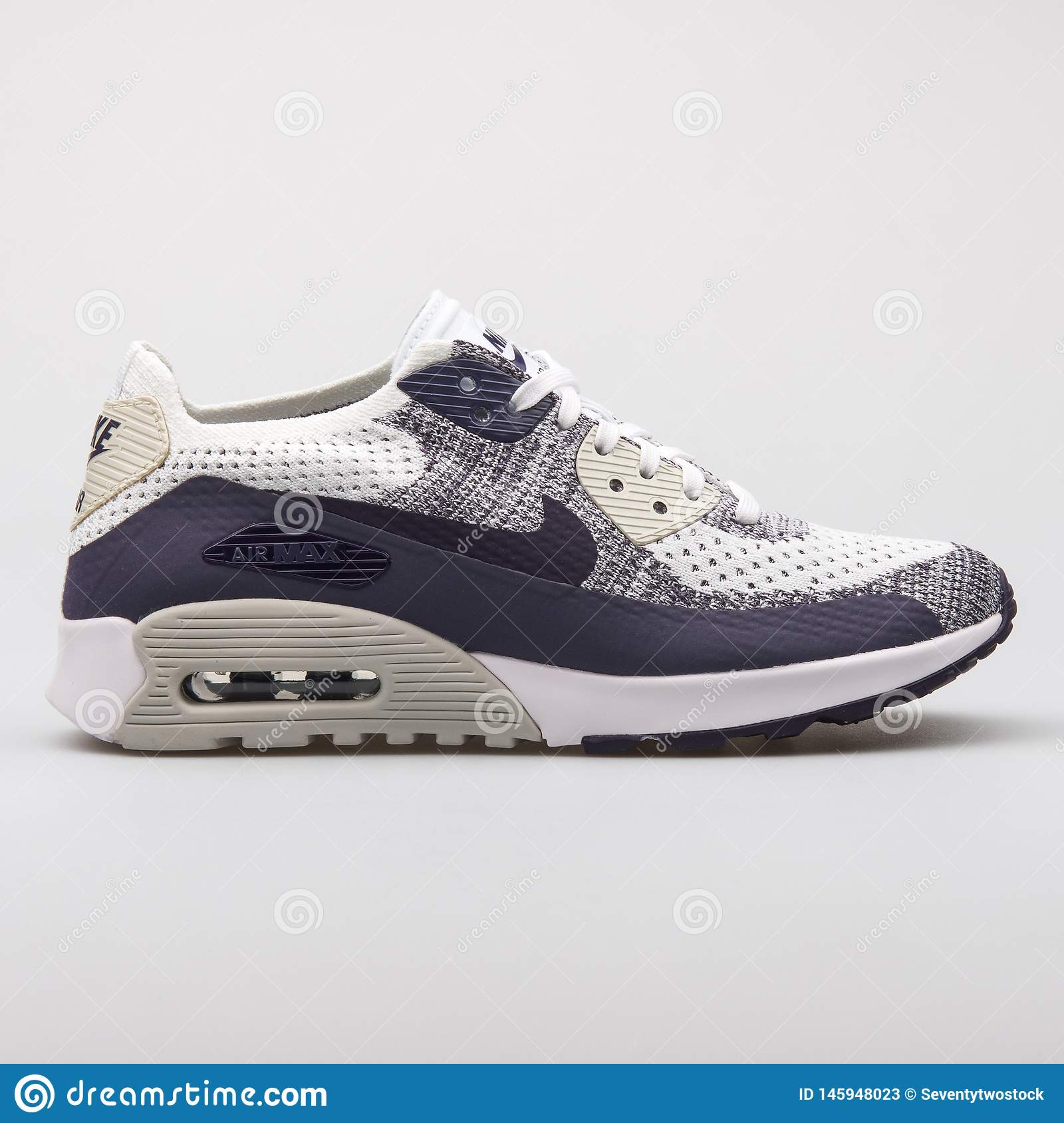 Nike Air Max 90 Ultra 2.0 Flyknit White And Purple Sneaker ...