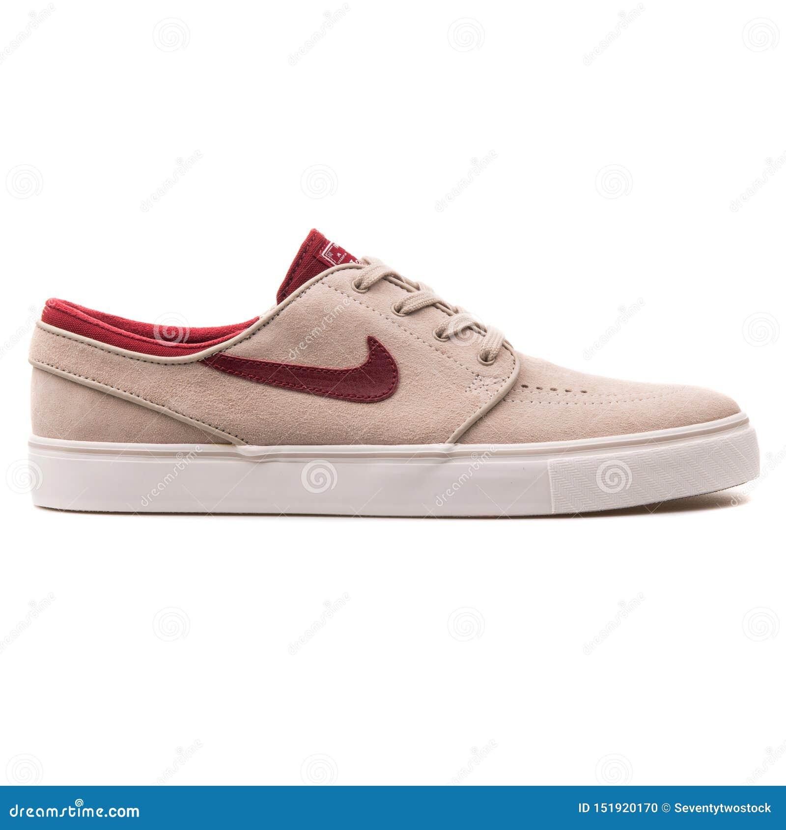 Nike Zoom Stefan Janoski SE Beige And Red Sneaker Editorial Image ...