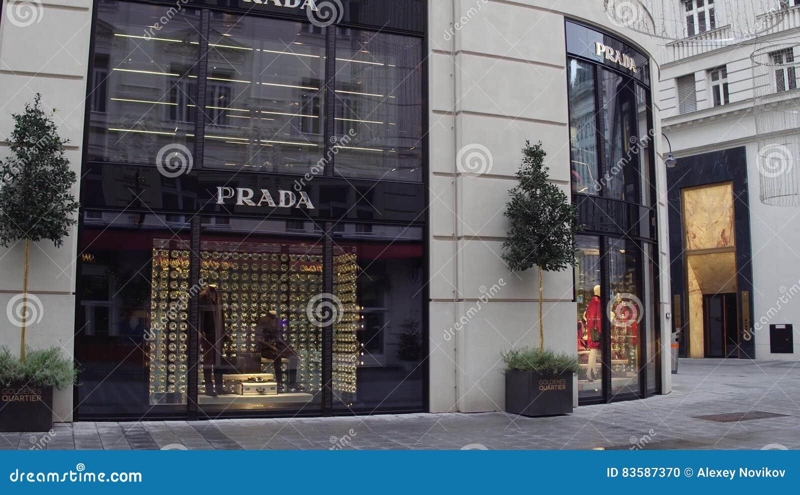 vienna austria december 24 big prada store italian. Black Bedroom Furniture Sets. Home Design Ideas