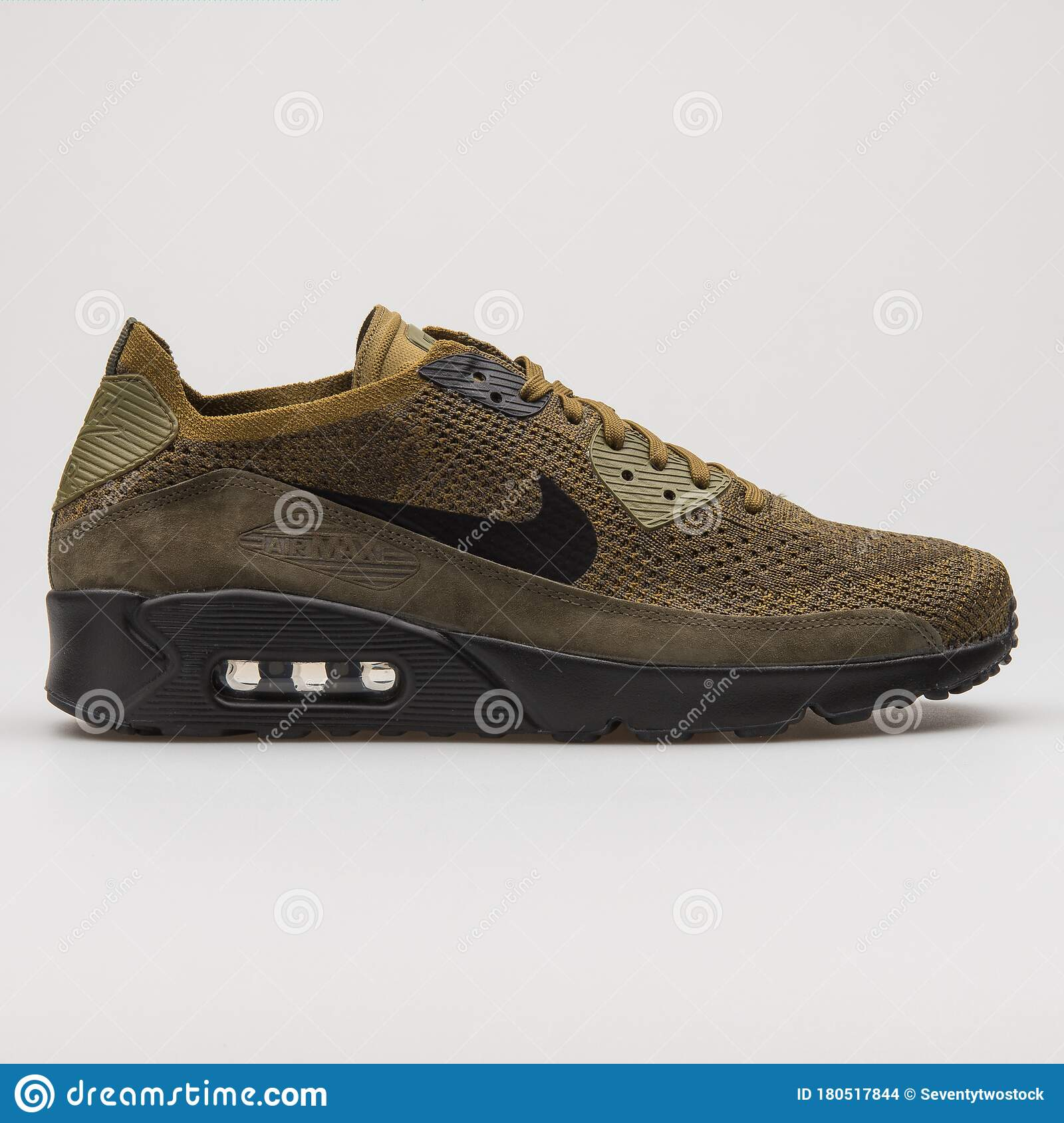 Nike Air Max 90 Ultra 2.0 Flyknit Olive Green And Black Sneaker ...