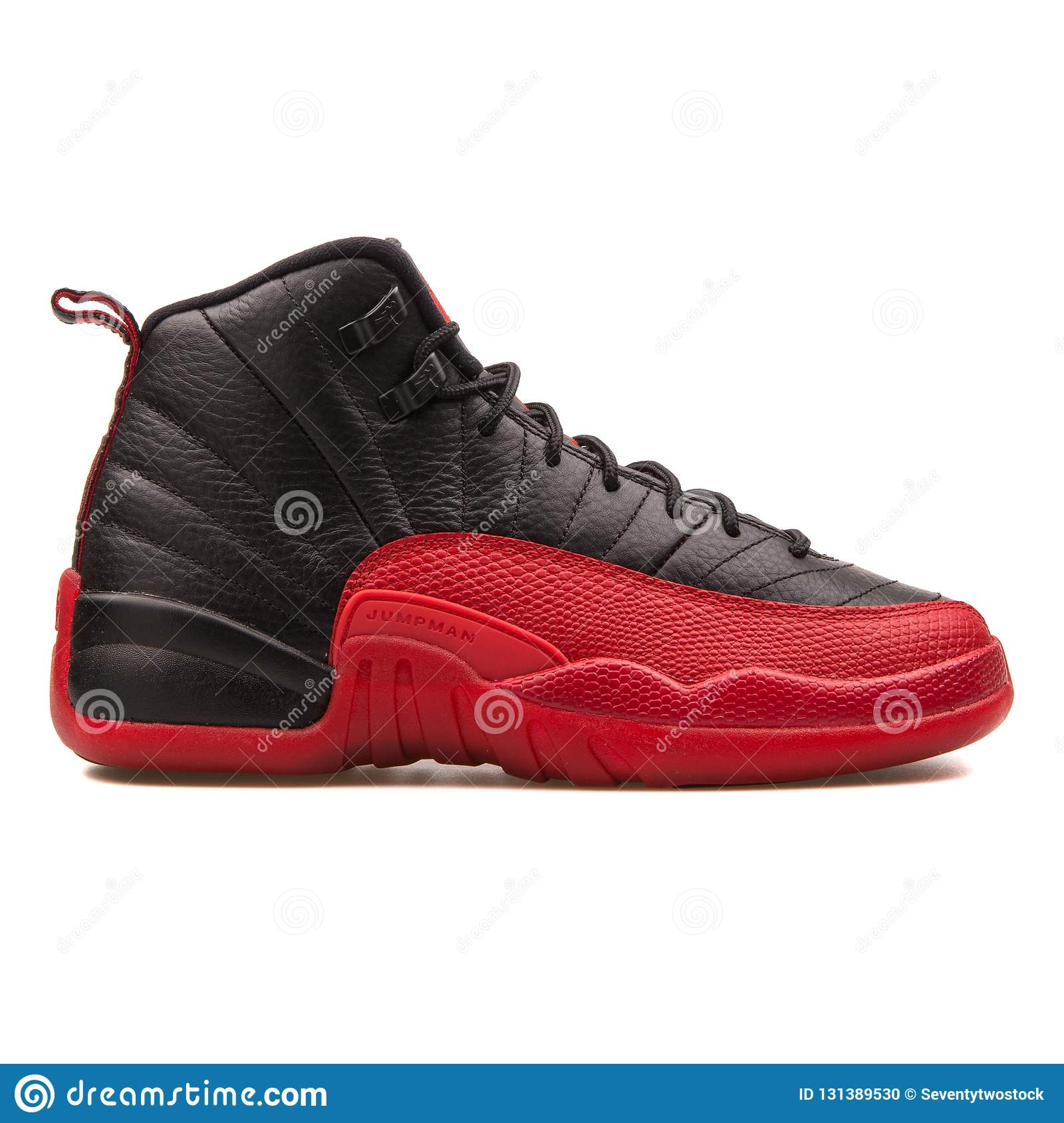 Nike Air Jordan 12 Retro black and varsity red sneaker isolated on white  background c4ba5167d448