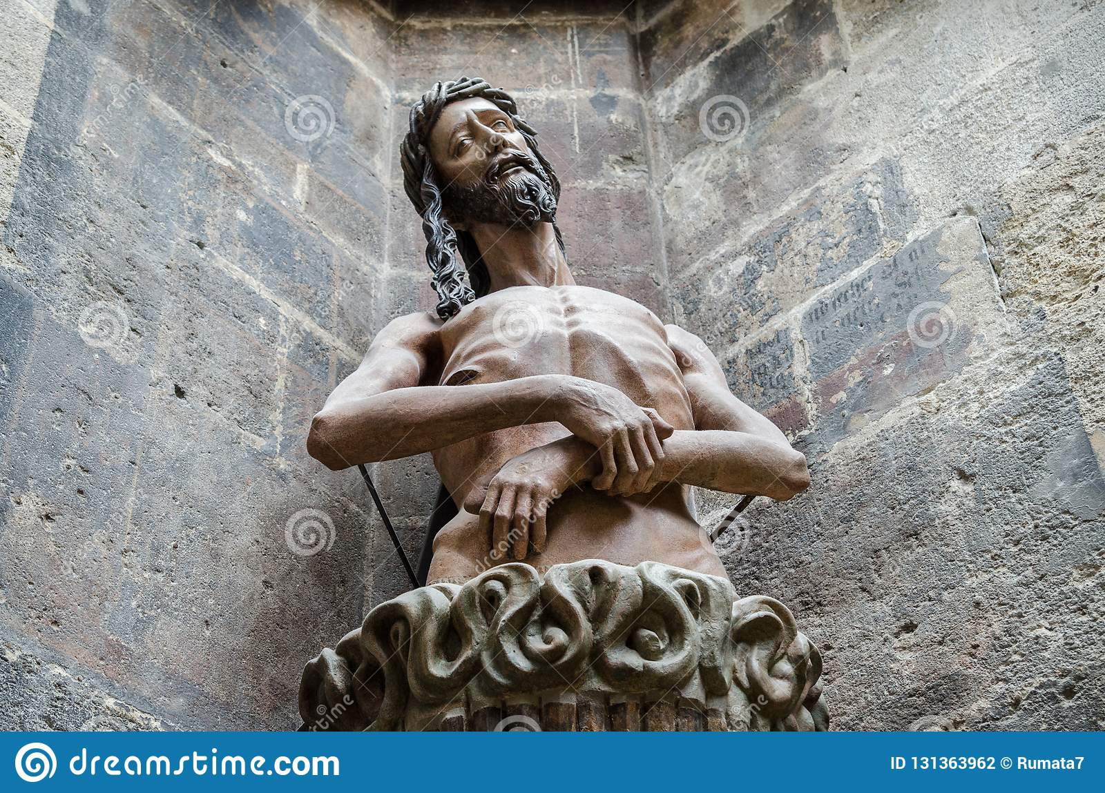 Statue of Jesus at St. Stephen`s Cathedral Stephansdom. Vienna