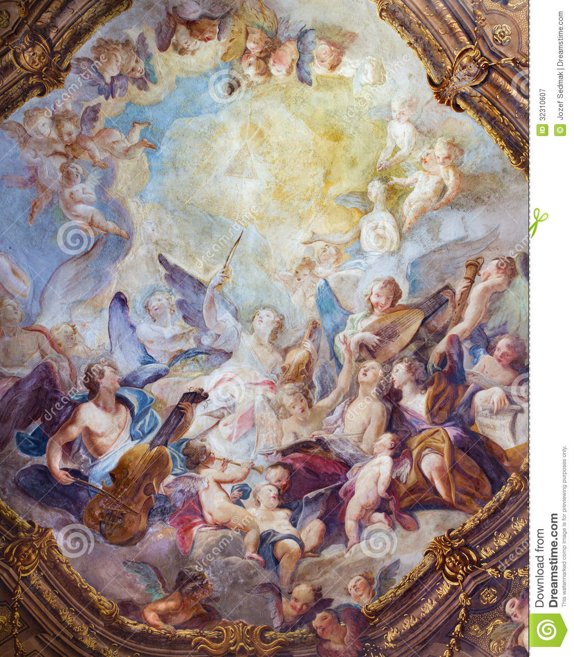 Vienna Baroque Angel Choirs Fresco From Ceiling One Of