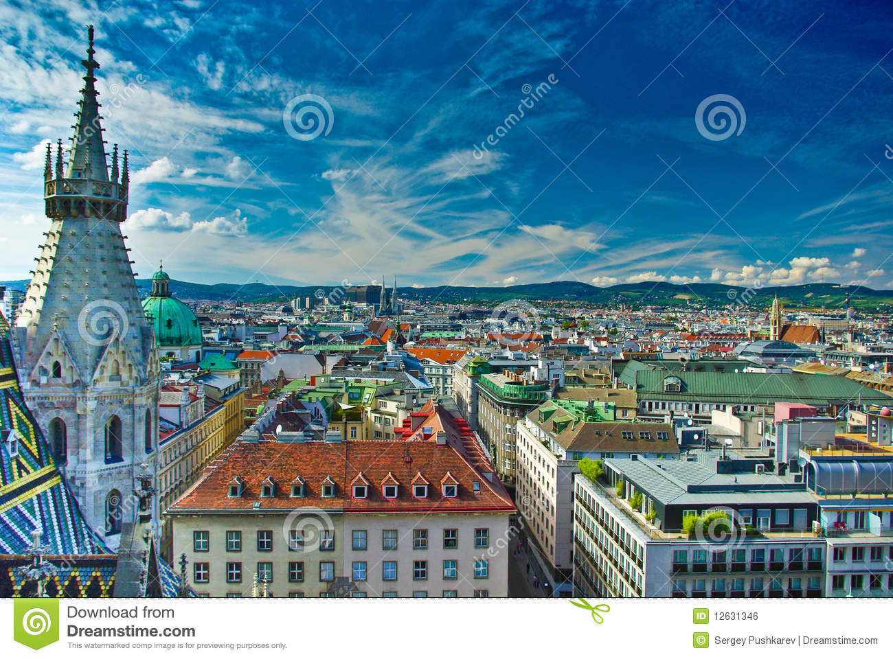 Vienna City Centre Top View Stock Photo - Image: 12631346
