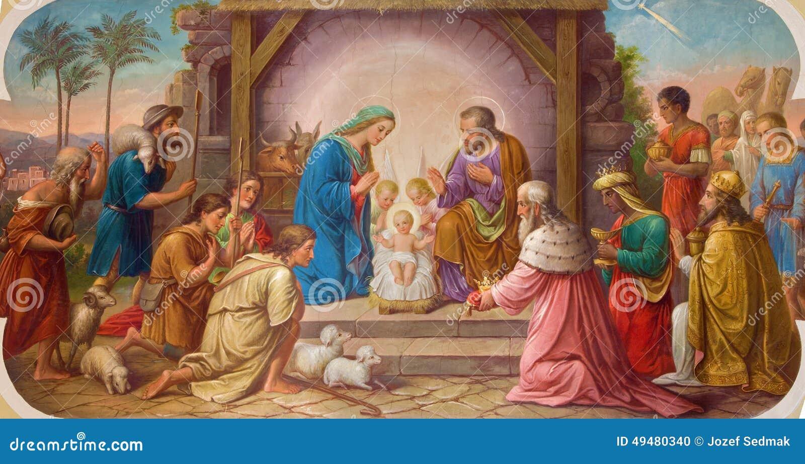 Fresco Of Nativity Scene By Josef Kastner The