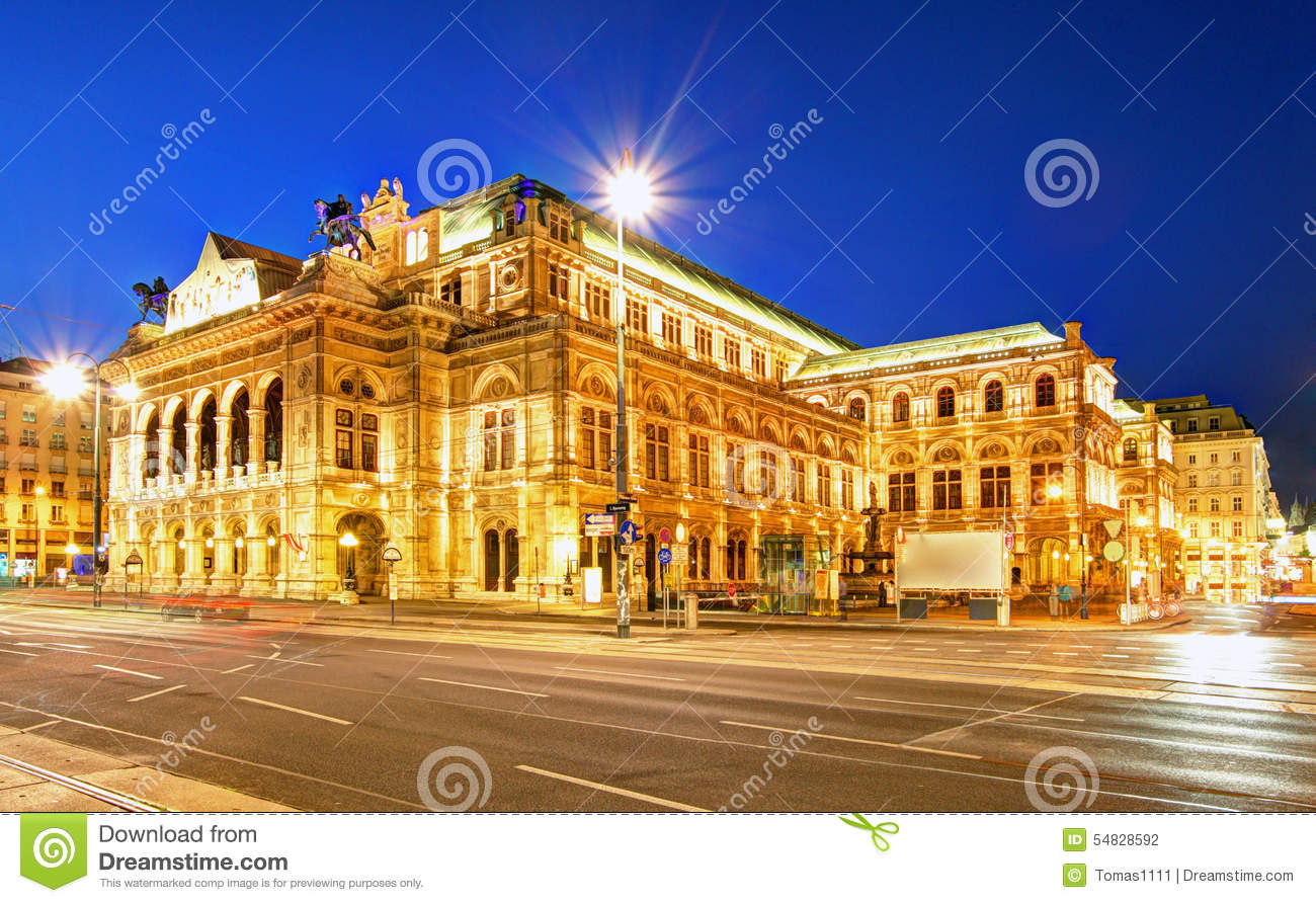 Download Vienna's State Opera House At Night, Austria Stock Photo - Image of architecture, central: 54828592