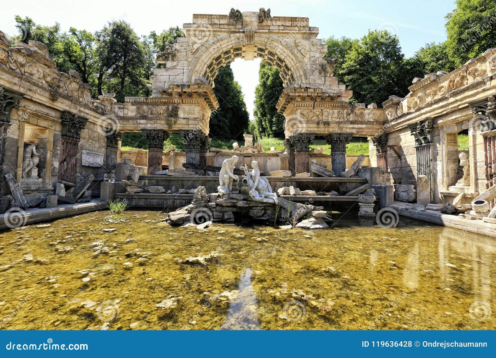Vienna Schonbrunn park antique ruins