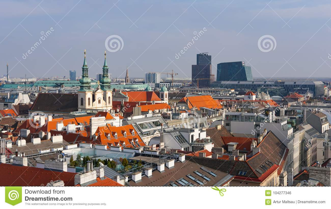 Vienna skyline, Austria. Aerial view of Vienna. Austria. Vienna Wien is the capital and largest city of Austria, and one of the 9