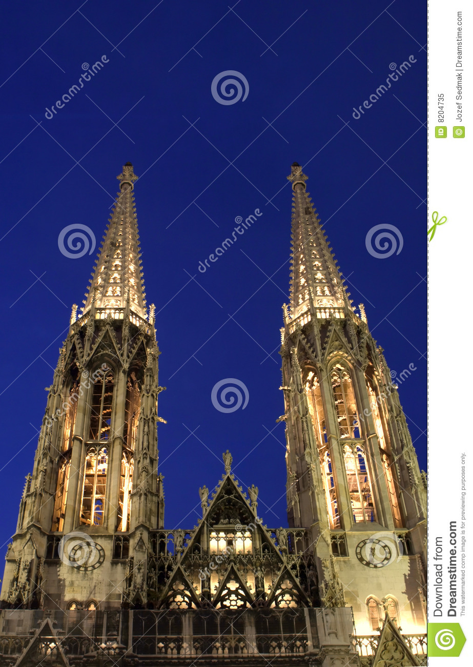 The Ring Vienna S Casual Luxury Hotel Vienna: Towers Of Votivkirche Royalty Free Stock Photo