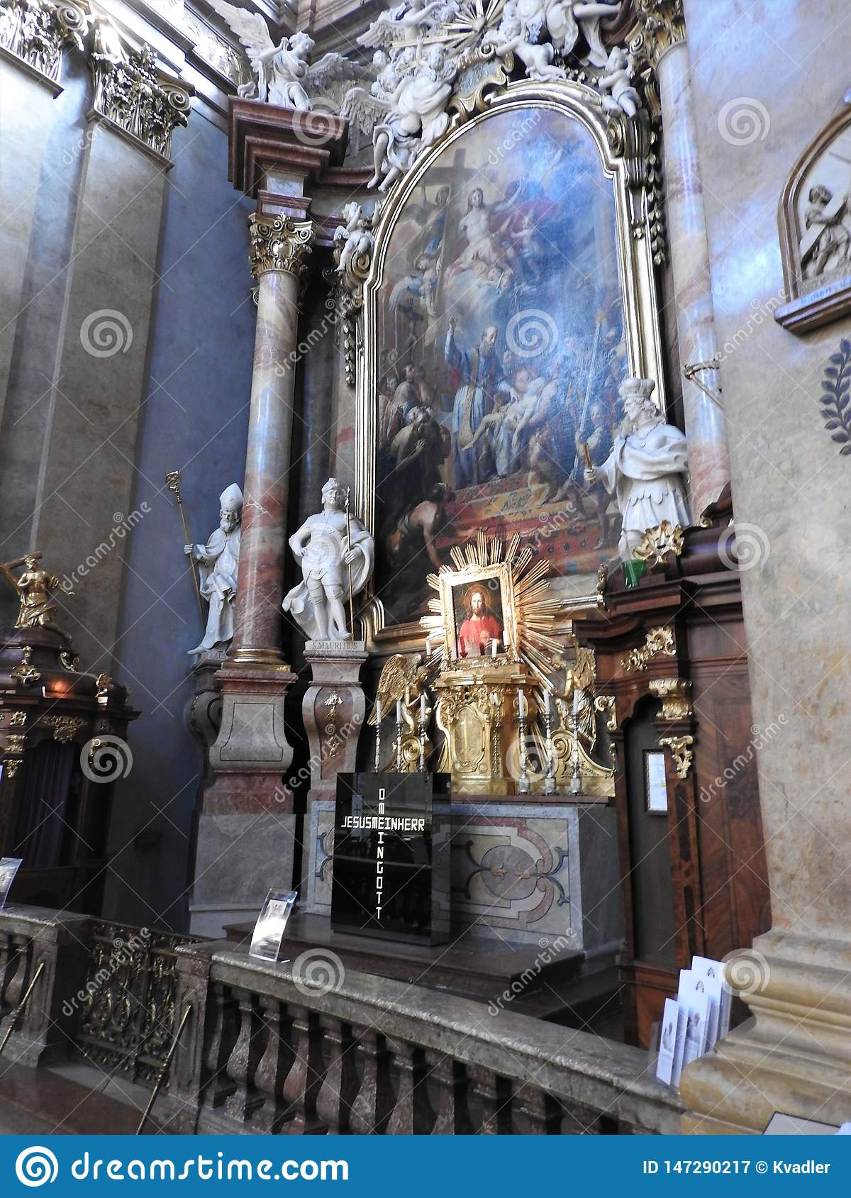 Vienne, Austria-29 07 2018 : int?rieur de St Peter Peterskirche Church, ?glise paroissiale catholique baroque ? Vienne, Autriche