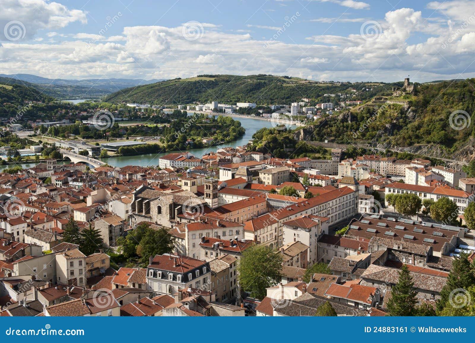Vienne France  city pictures gallery : Vienne France E Rio De Rhone Imagem de Stock Imagem: 24883161