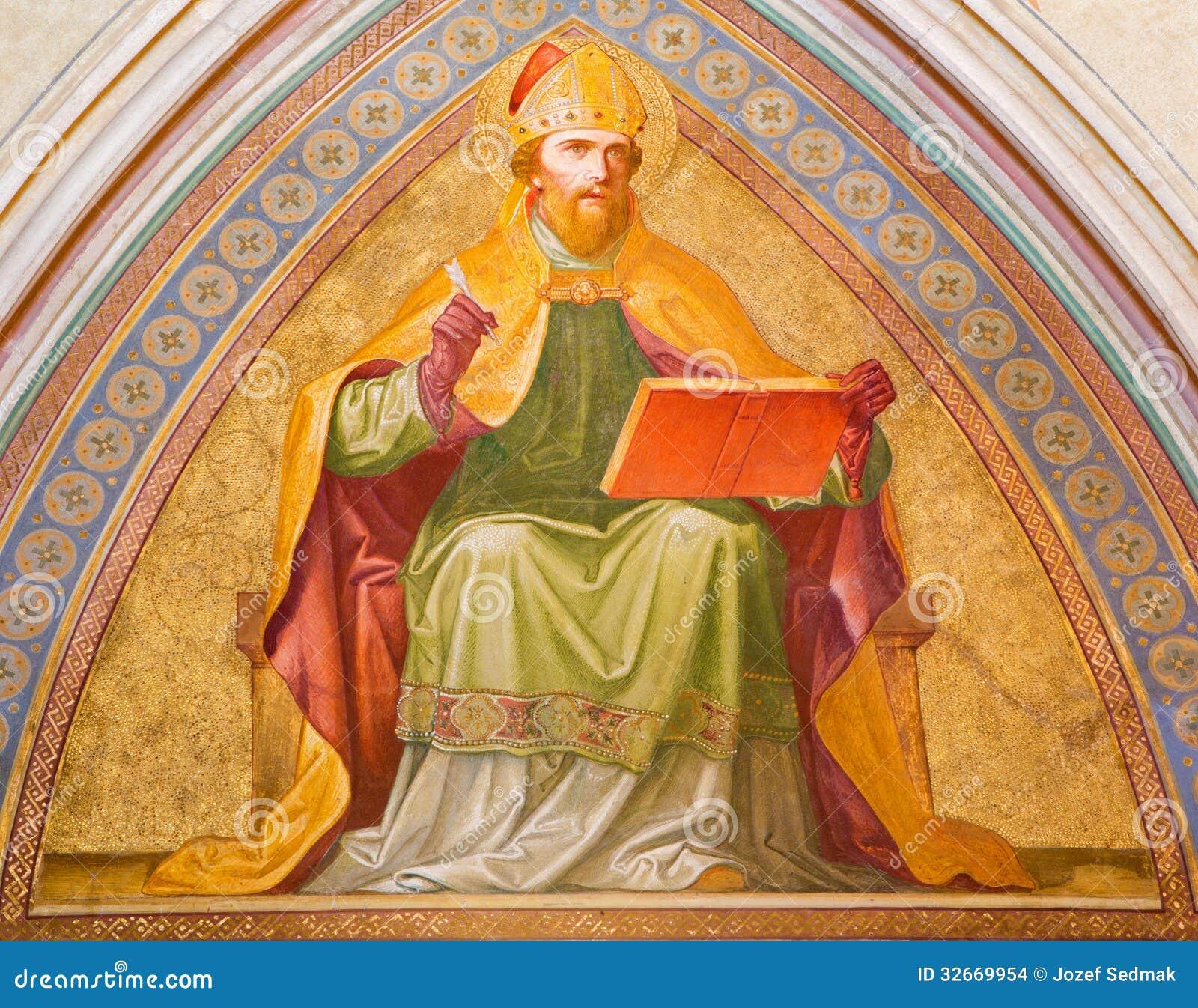 Vienne - fresque de St Augustine de vestibule d église de monastère à Klosterneuburg
