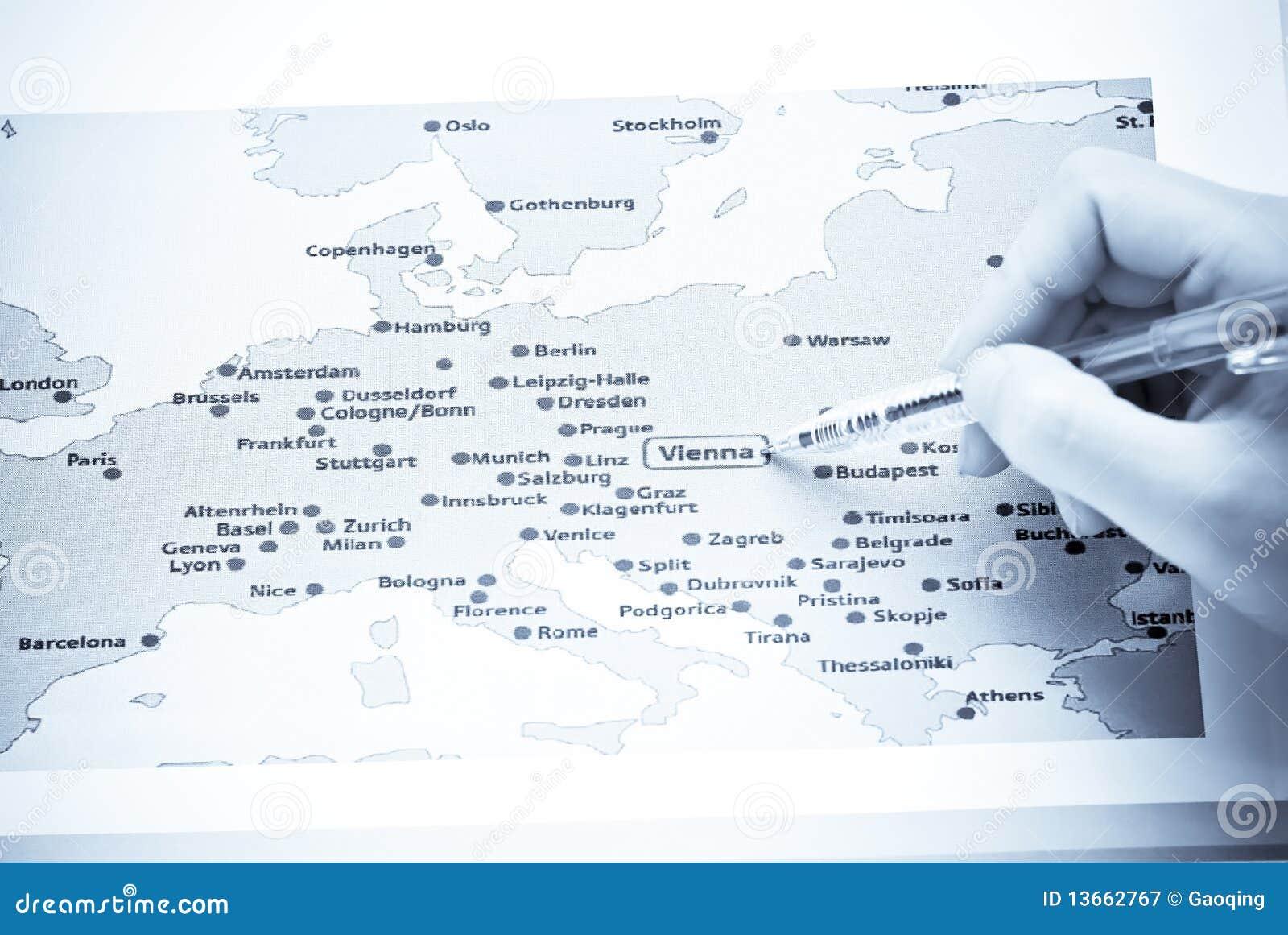 Carte Europe Vienne.Vienne Sur La Carte De L Europe Image Stock Image Du