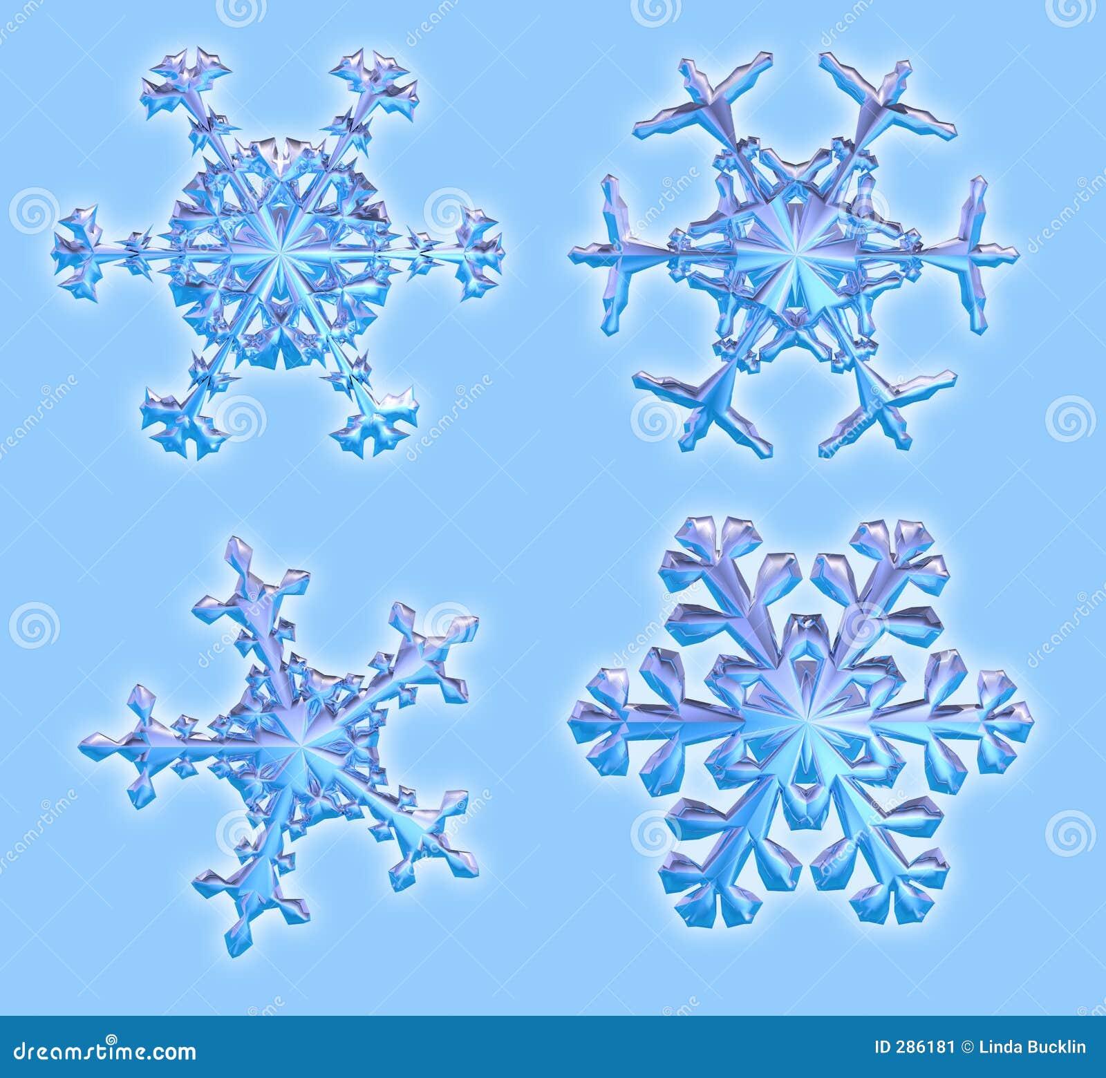Vier 3D Sneeuwvlokken - omvat het knippen weg