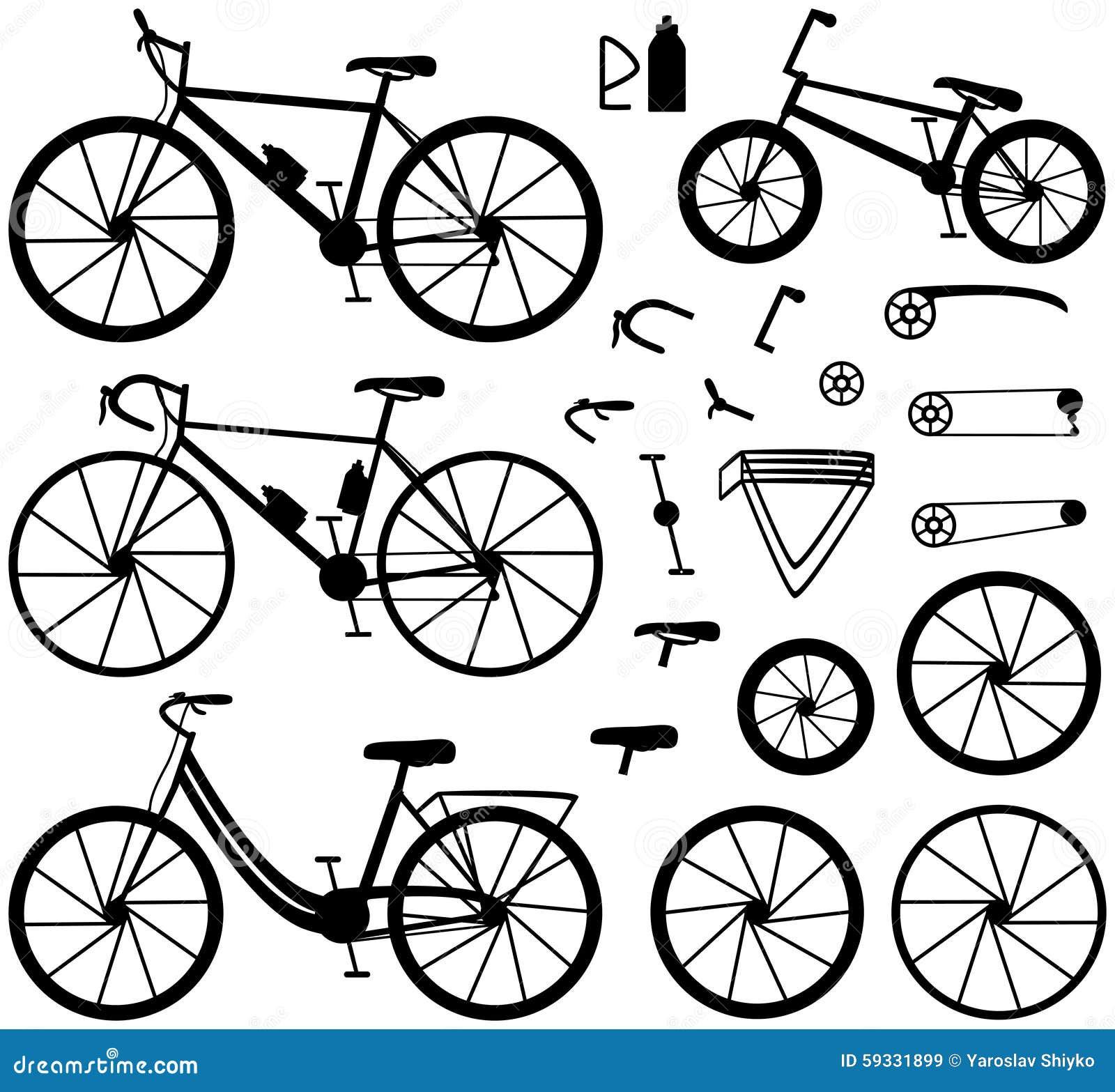 Vier Arten Fahrräder: Gebirgs-(oder Querfeldein) Fahrrad, Rennrad ...