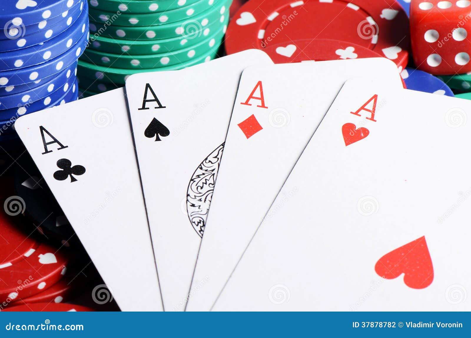 Vier ases en casinospaanders