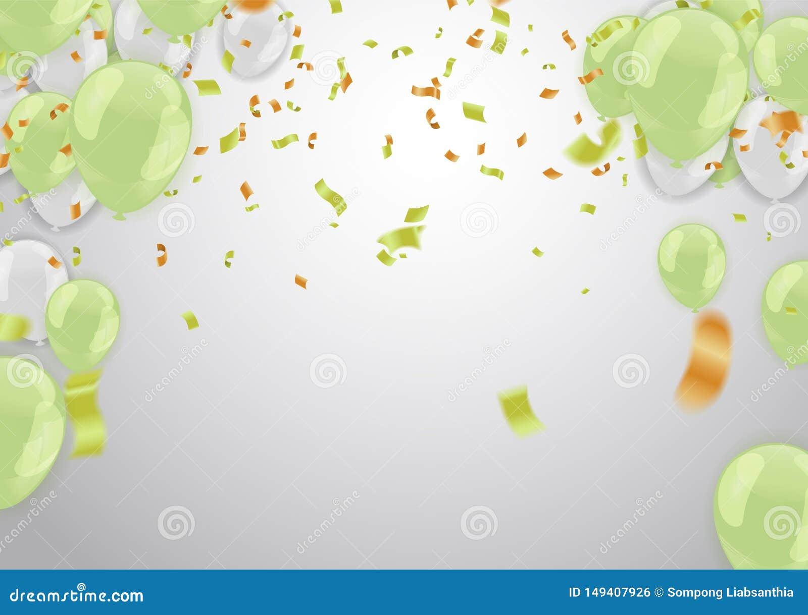 Vier banner Partijvlaggen met confettien Het vectormalplaatje van het illustratieontwerp Gelukkige Glanzende vakantie van het Val