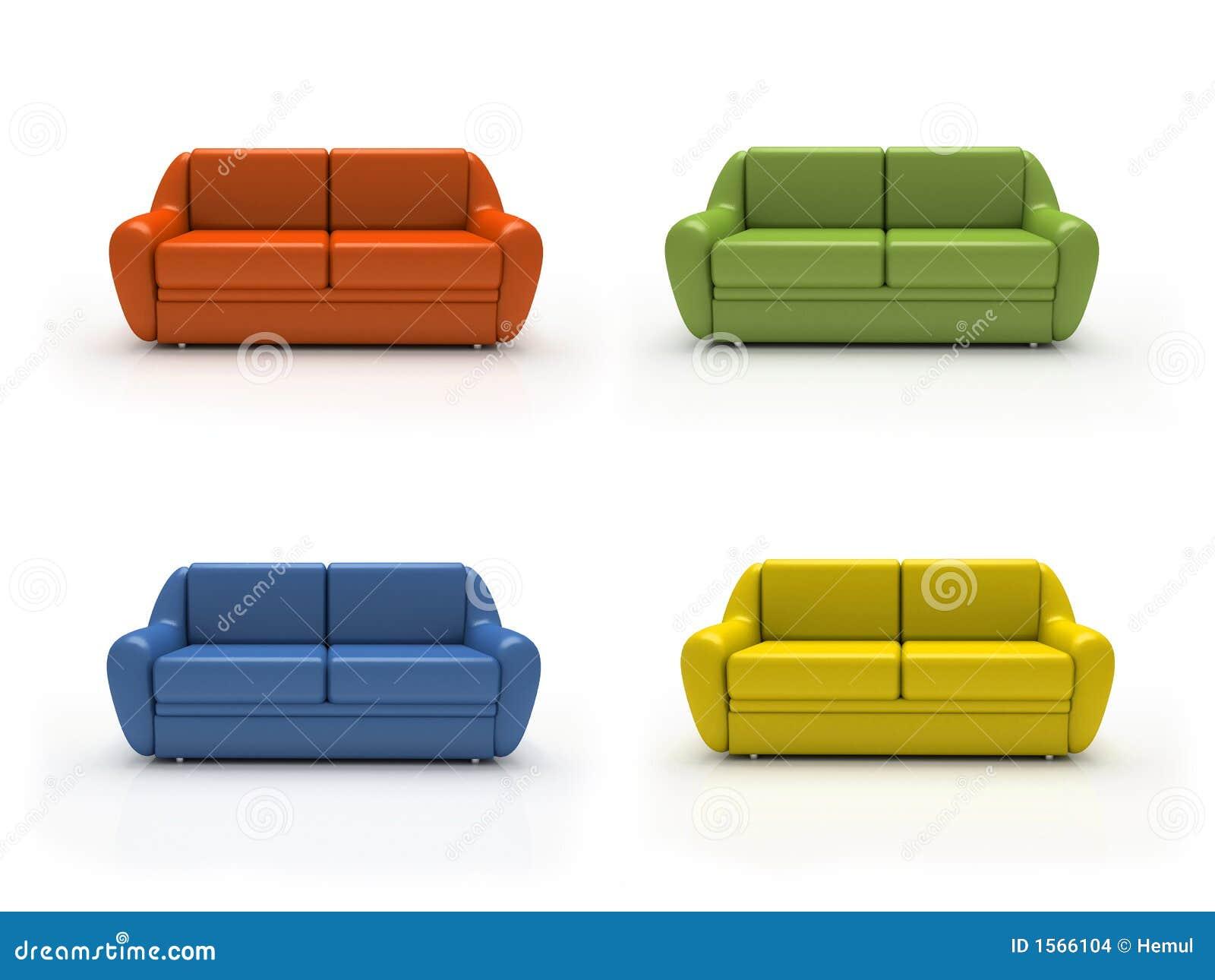 vier bunte sofas getrennt auf wei em hintergrund stockbilder bild 1566104. Black Bedroom Furniture Sets. Home Design Ideas