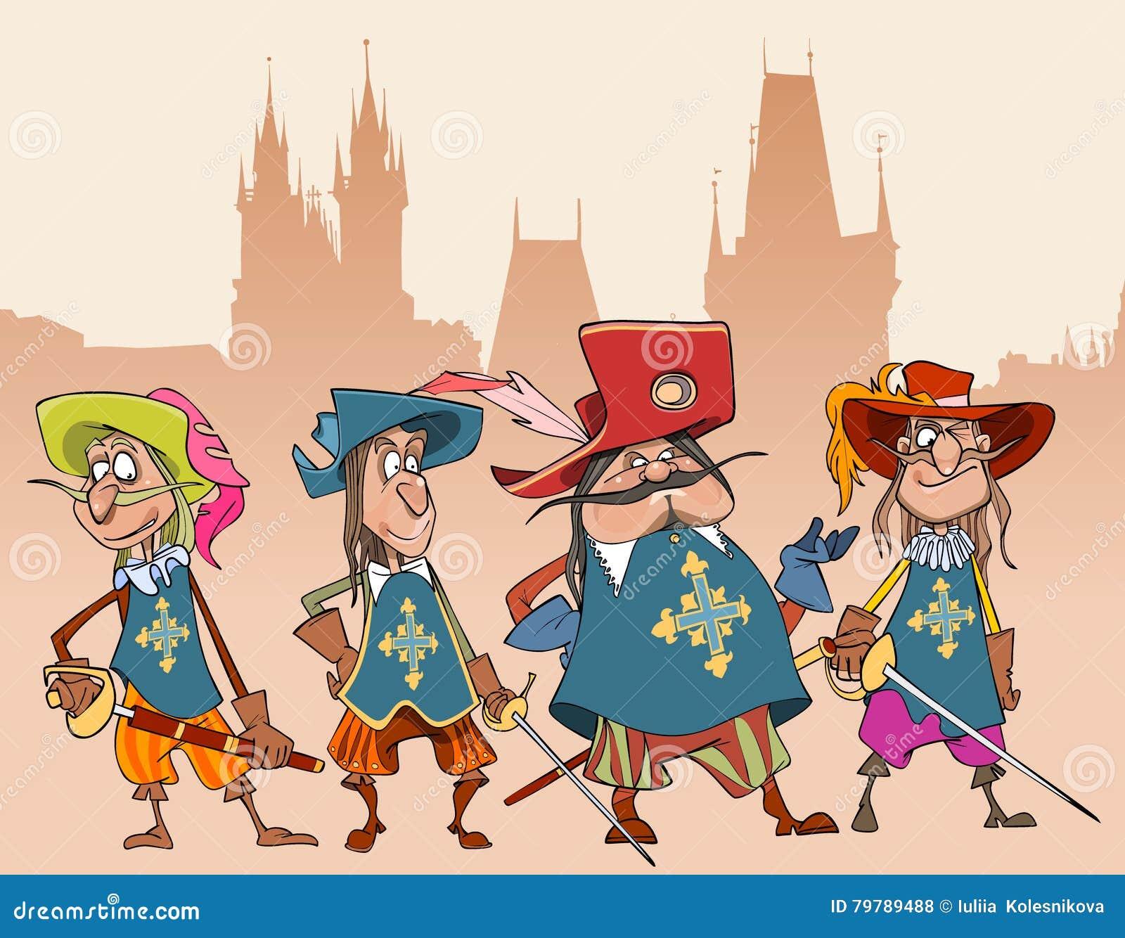 Vier Charakter-Soldaten Musketiere der Karikatur lustige