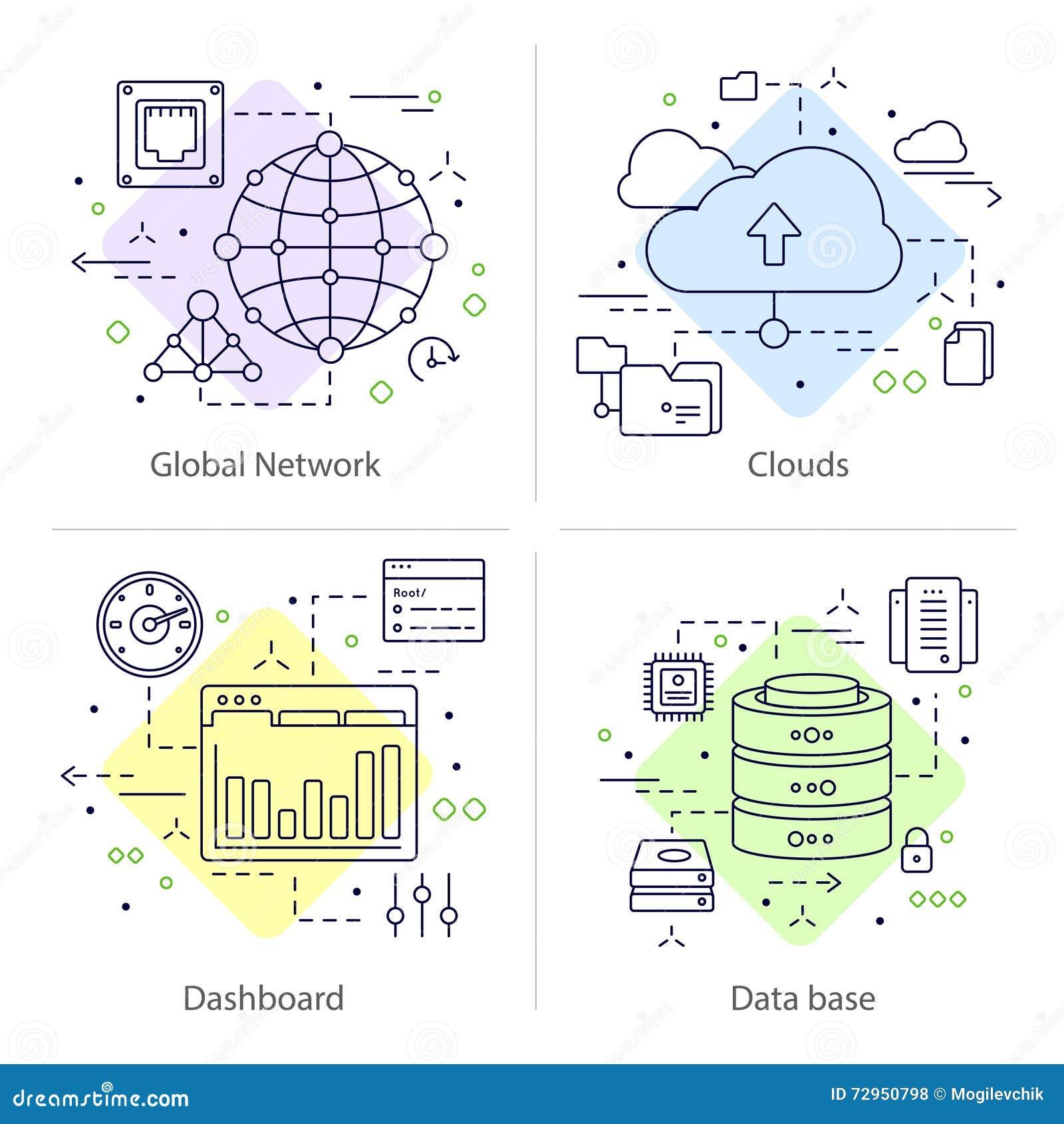 Vier Datacenter-Pictogramreeks