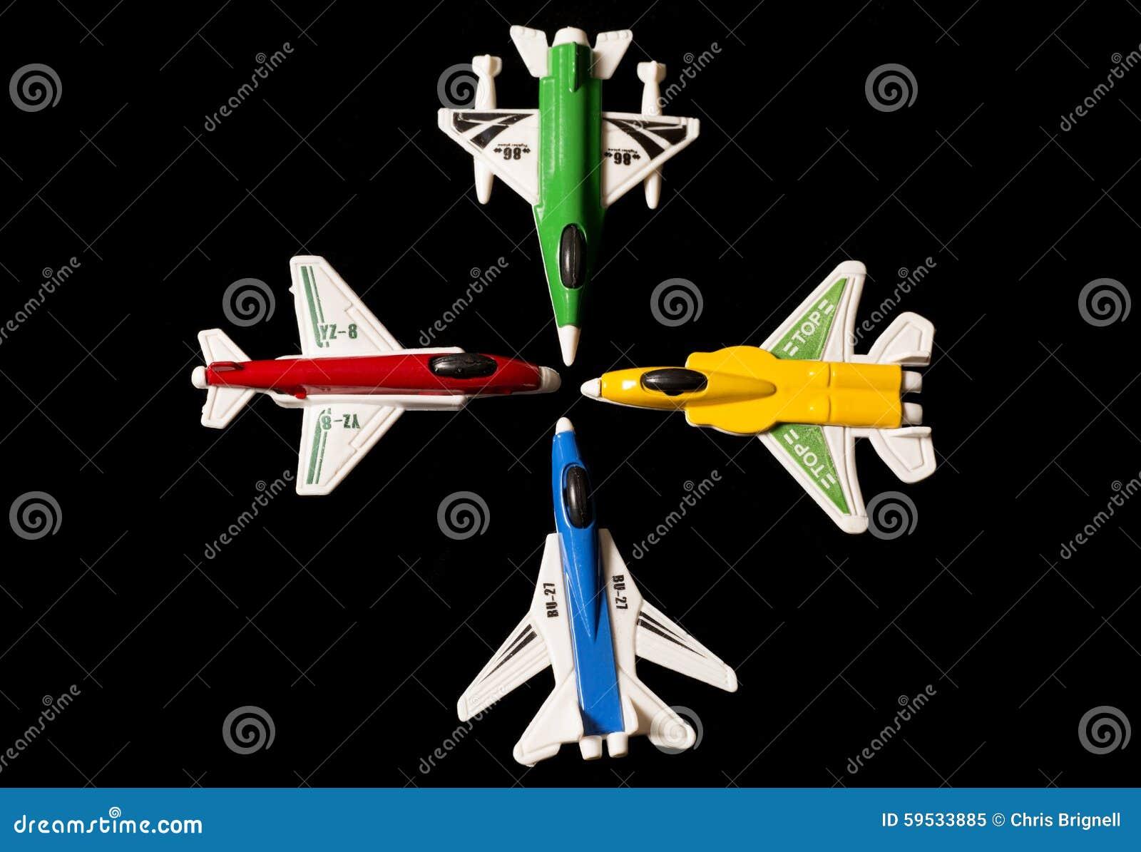 Vier de zakspeelgoed van de vliegtuigpartij