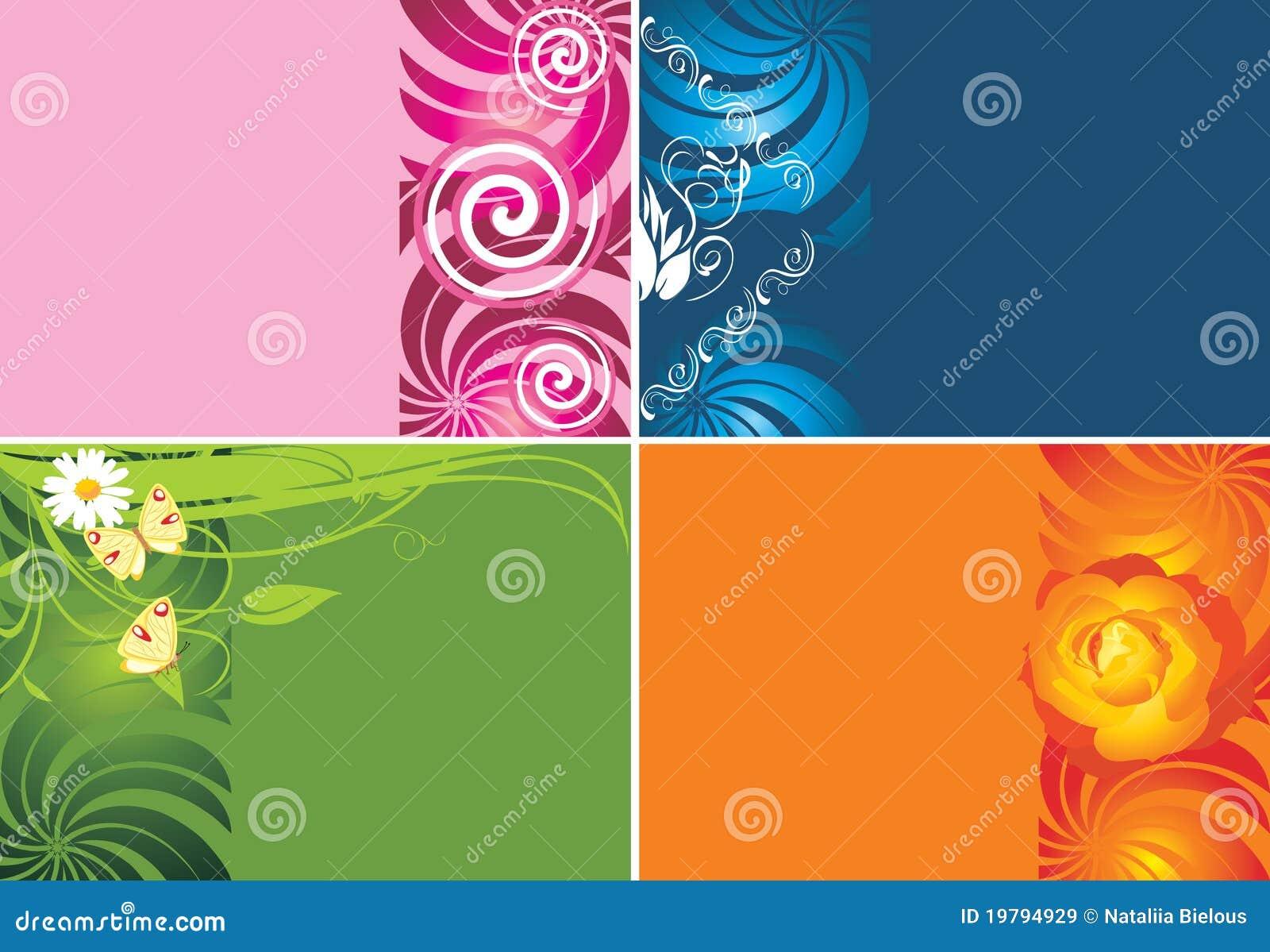 Vier dekorative hintergr nde f r karten lizenzfreie - Fotos decorativas ...