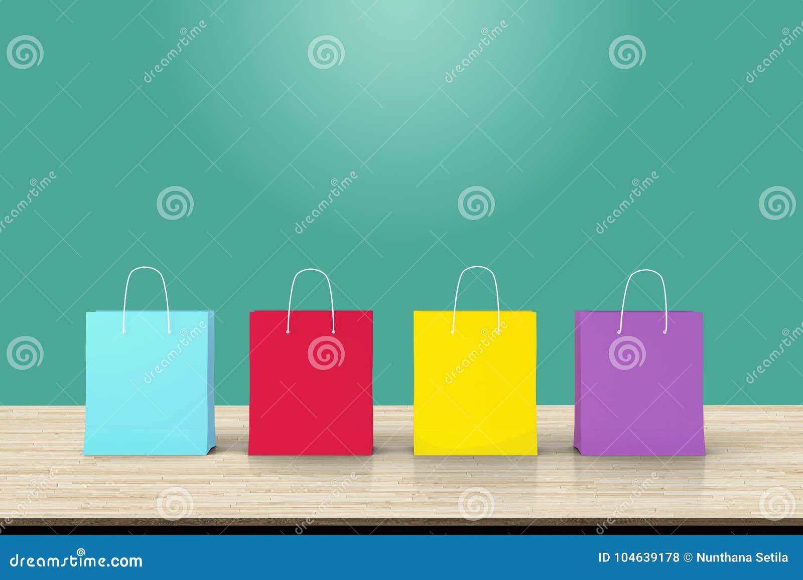 Download Vier Document Het Winkelen Zakken Op Houten Lijstachtergrond Concept Over O Stock Illustratie - Illustratie bestaande uit korting, koop: 104639178