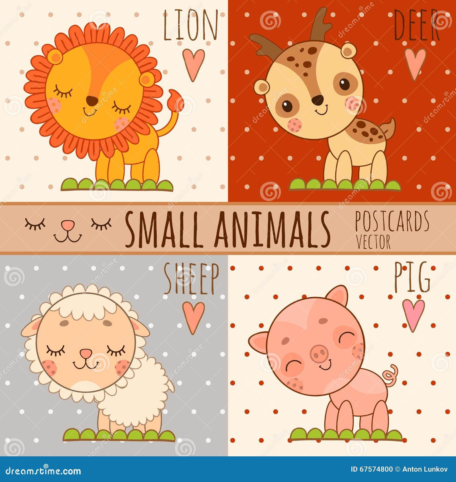 Vier Einfache Nette Bilder Von Tieren Karikaturart Vektor Abbildung