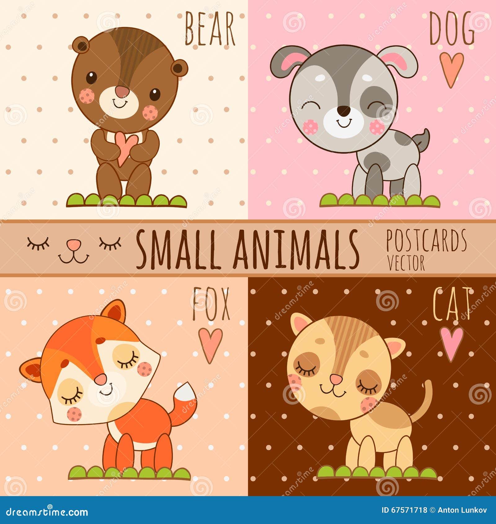 Vier Einfache Nette Bilder Von Tieren Karikatursatz Vektor