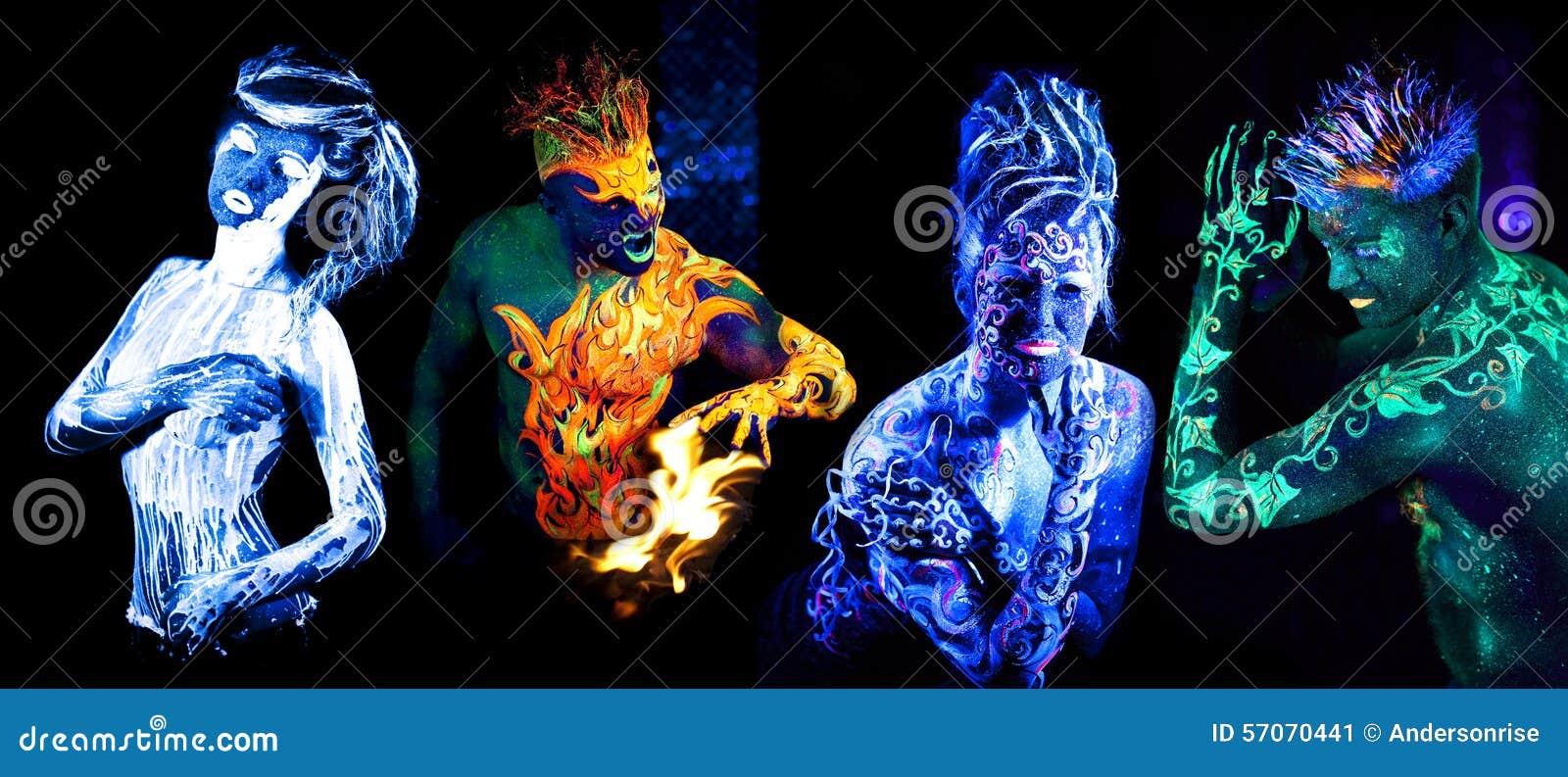 Vier elementen Lichaamskunst die in ultraviolet licht gloeit