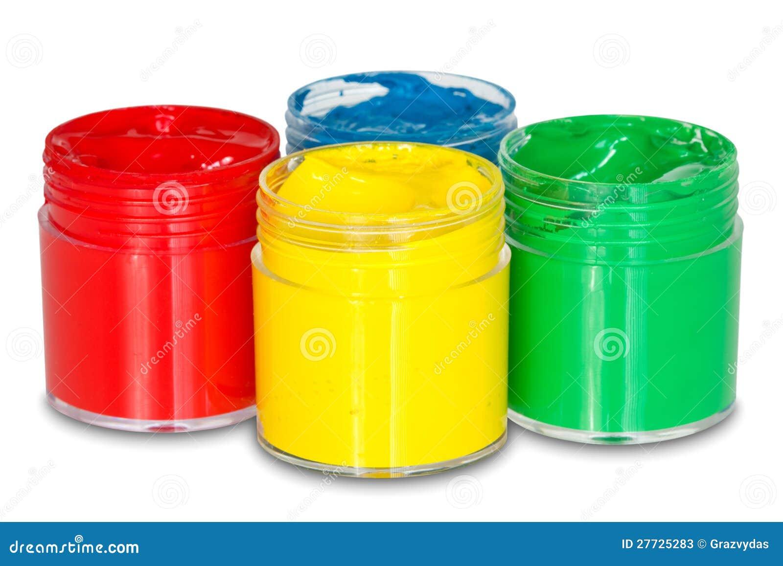 Vier Farbenlackdosen