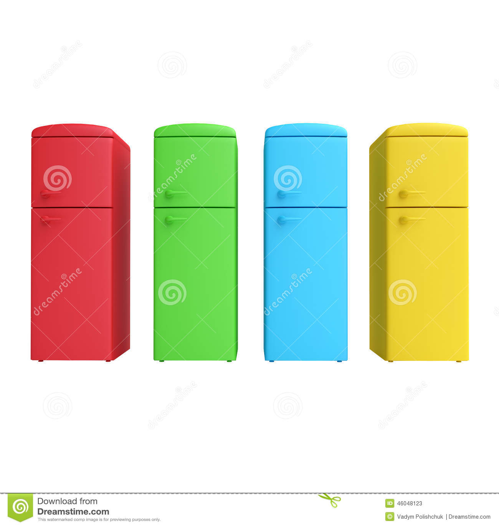 Vier farbiger Kühlschrank stock abbildung. Illustration von ikone ...