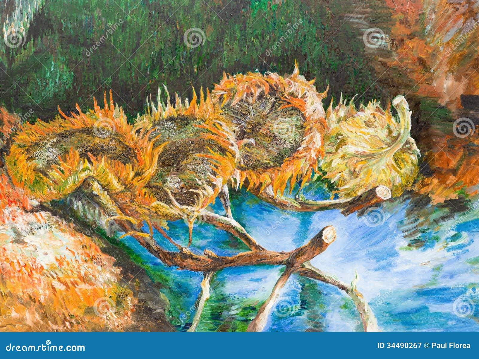 Vier geschnittene Sonnenblumen, Vincent van Gogh