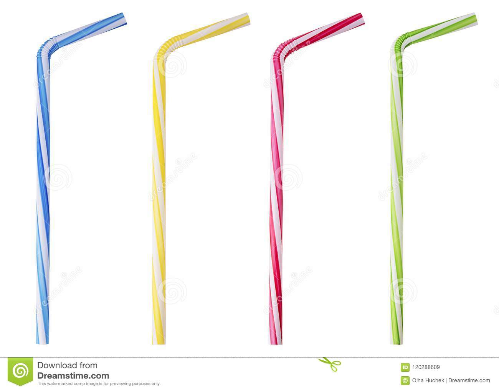 Vier het drinken stro roze, blauwe, gele, groene gestreept