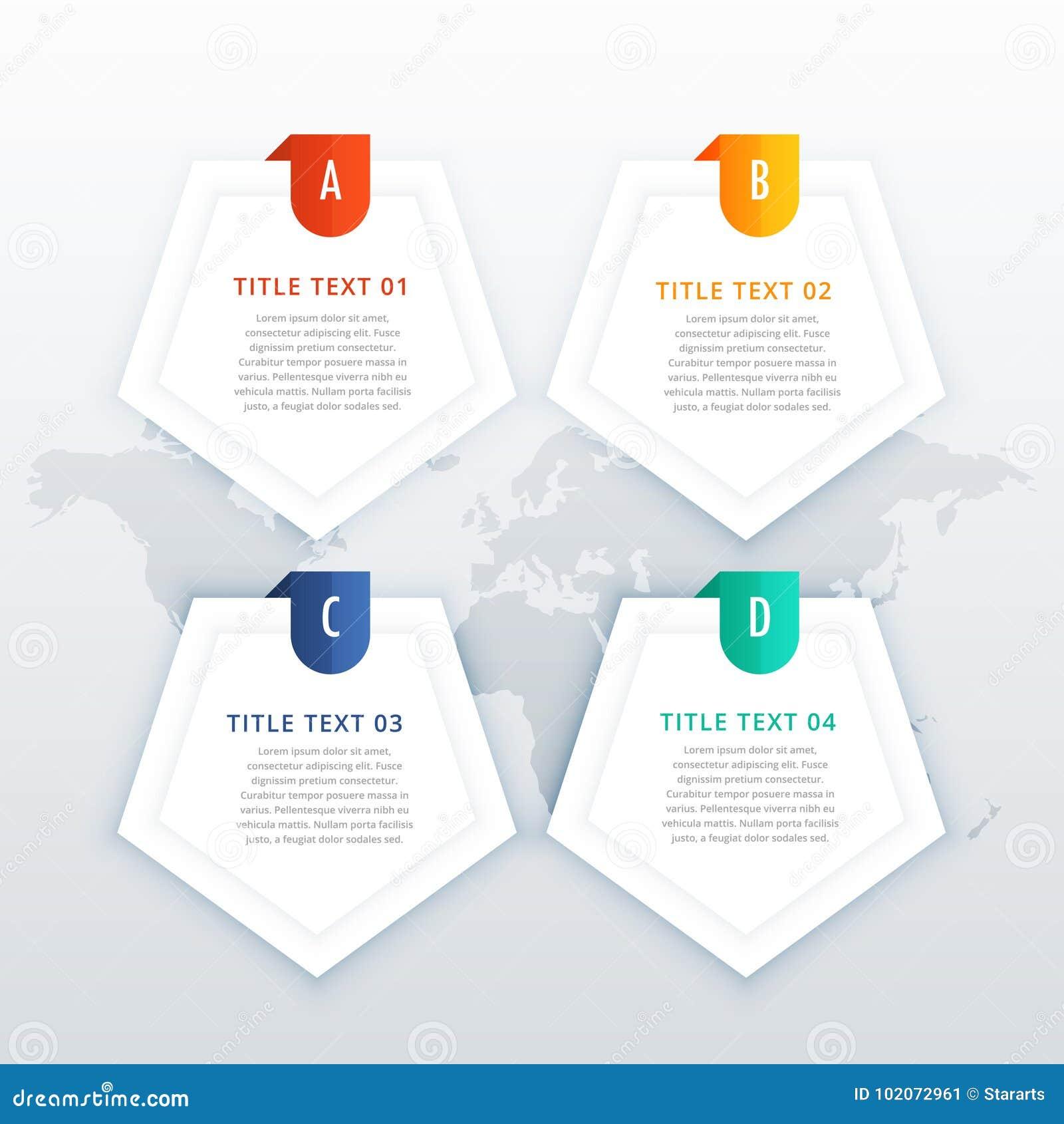 Vier infographic Fahnen der Schritte eingestellt für Geschäftsdarstellung