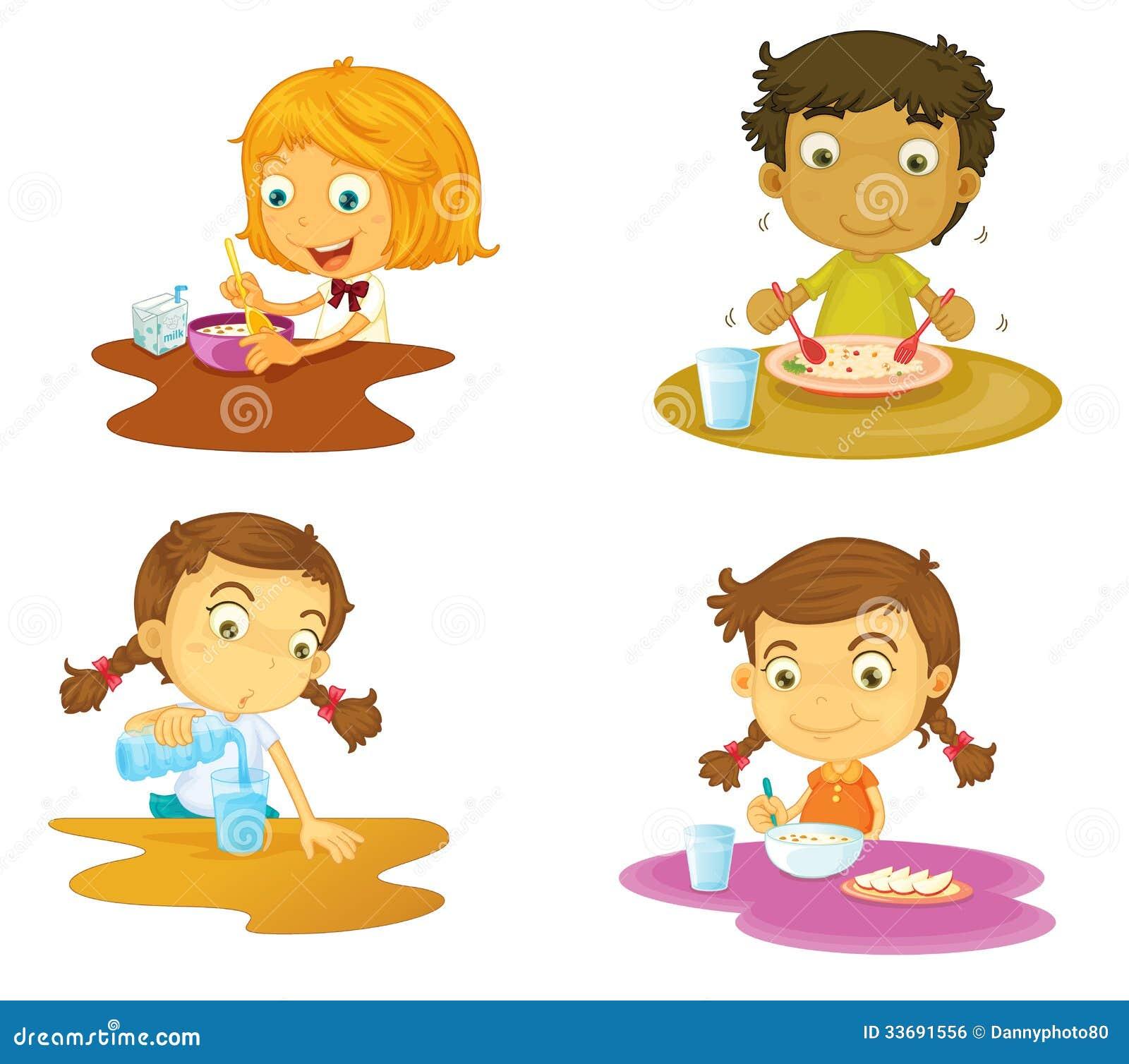Vier kinder die nahrung essen vektor abbildung