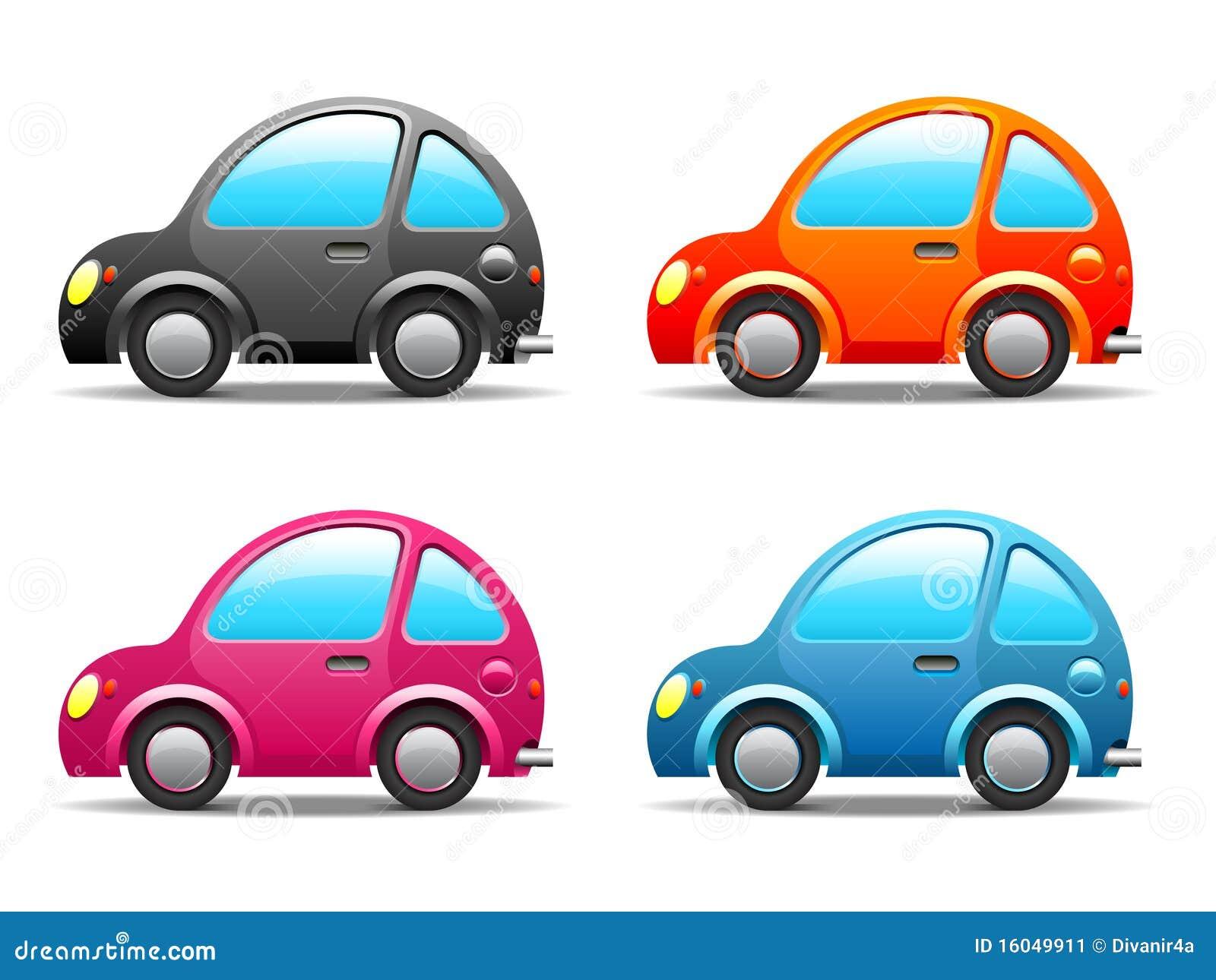 Vier lustige kleine Autos