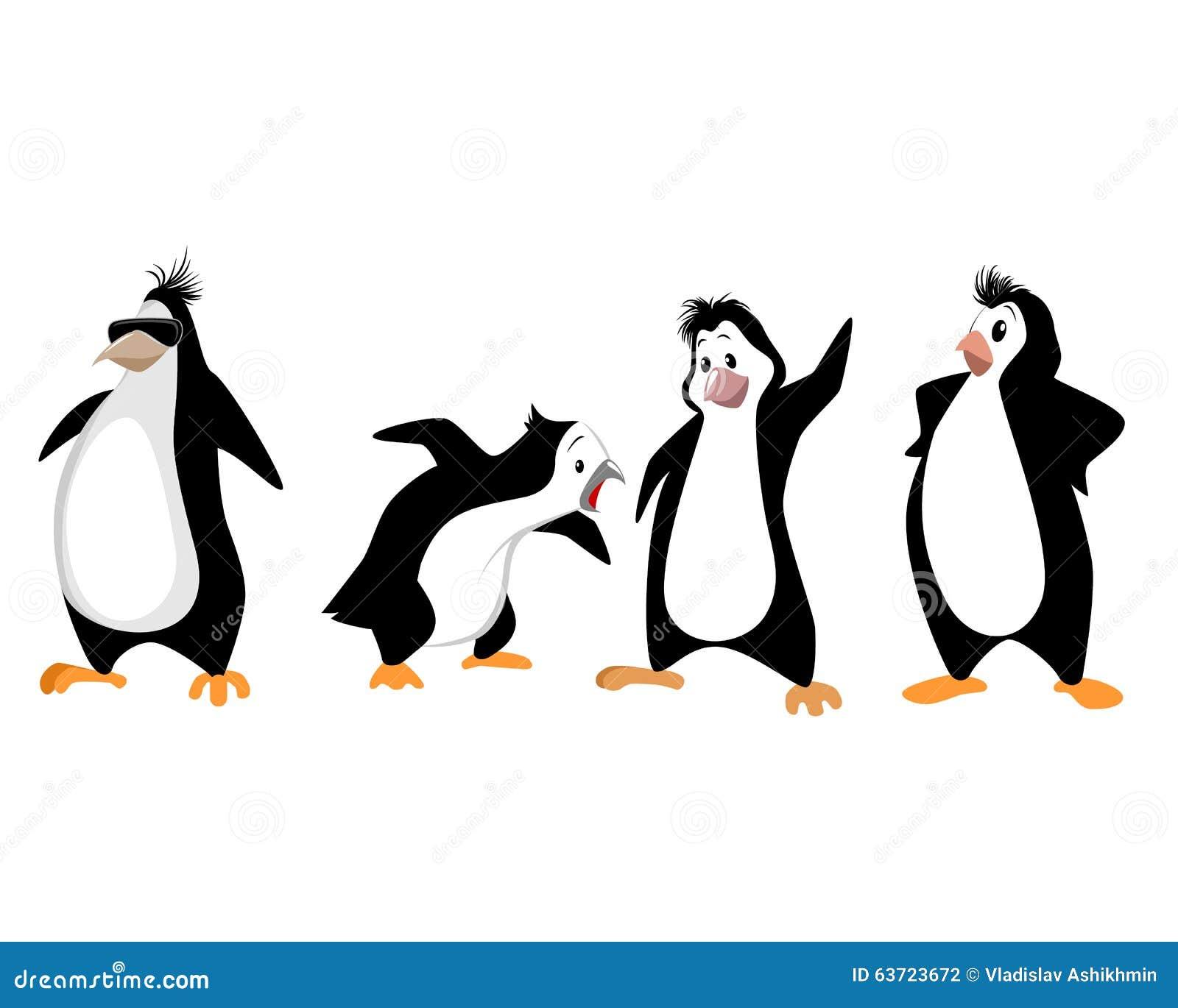 Vier lustige Pinguine vektor abbildung. Illustration von winter ...