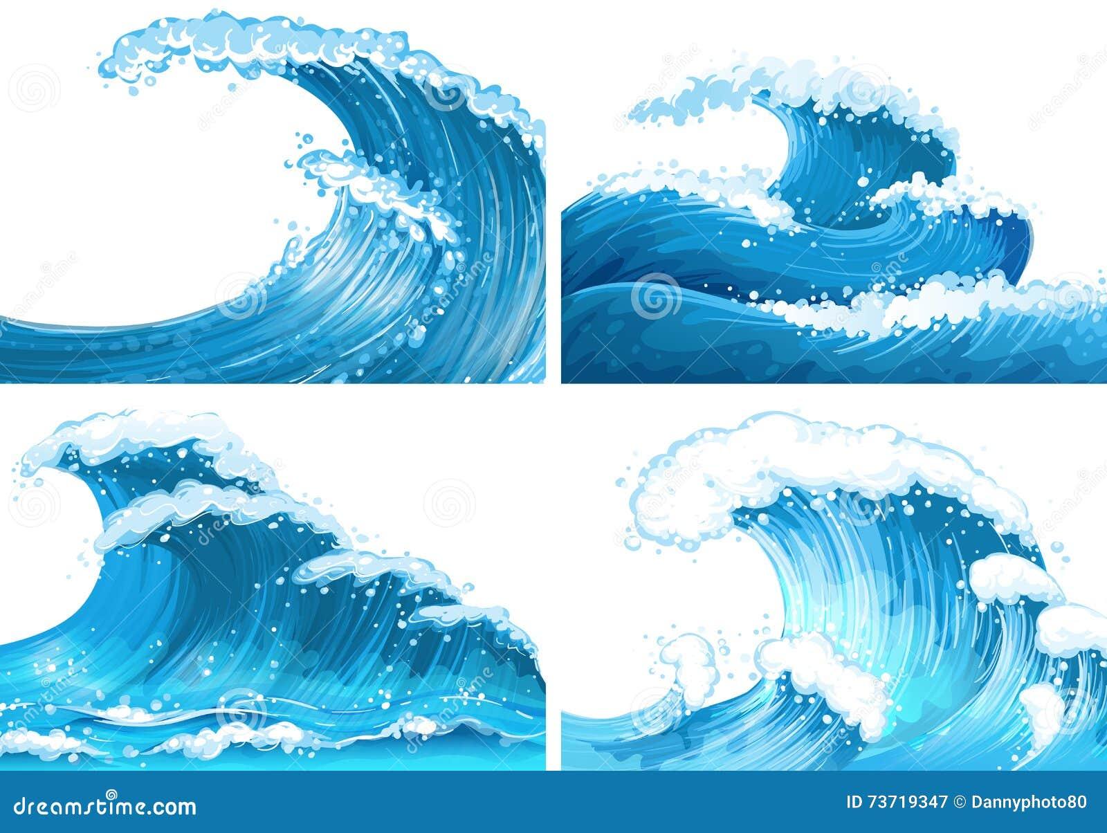 Vier scènes van oceaangolven