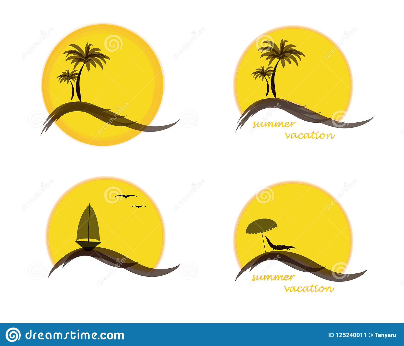 Vier-Sommer-Logo mit Sonne, Palmen, Ozean oder Meer, Segelschiff und Strand, Vektorillustration lokalisiert auf Weiß